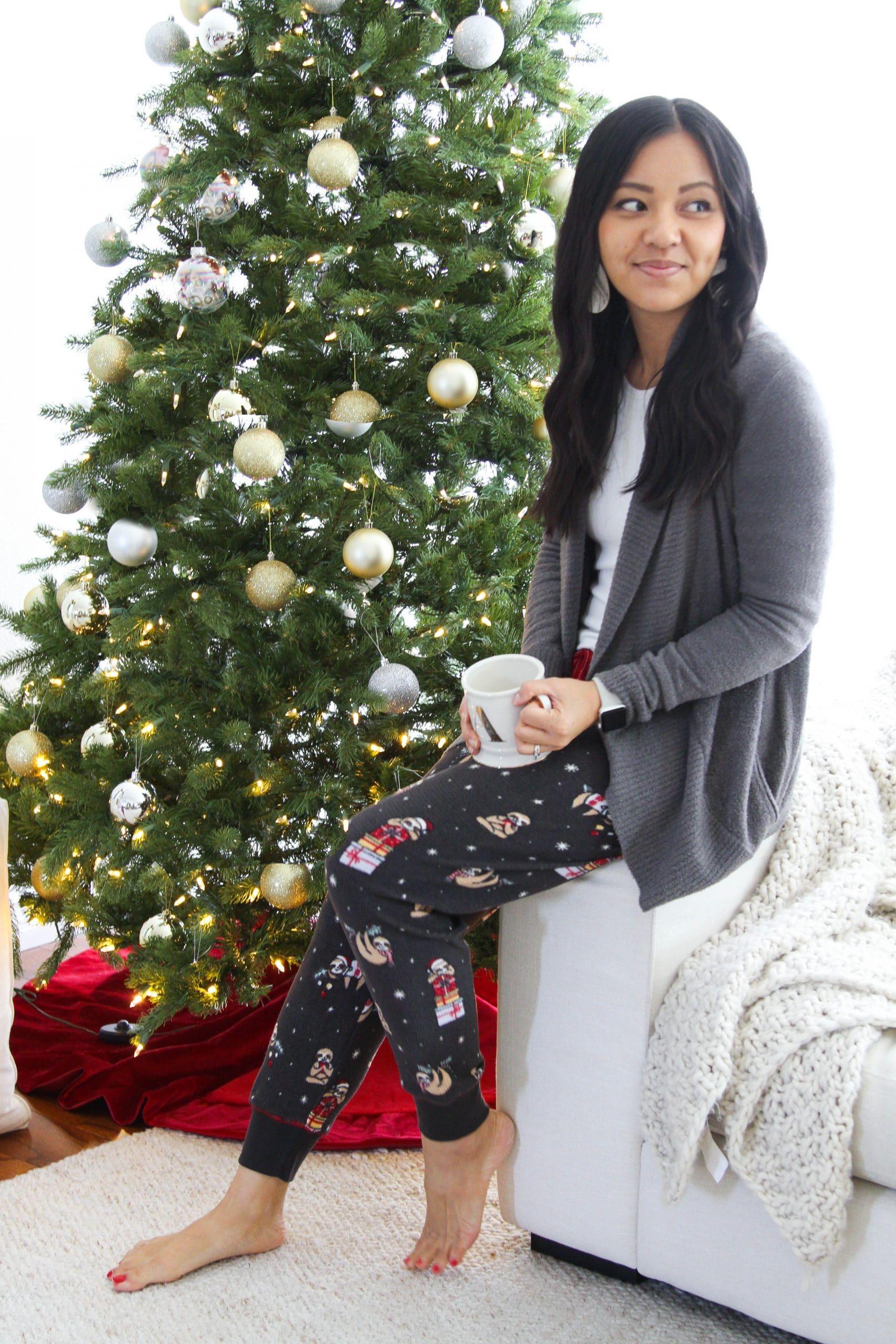 white top + printed thermal fleece pants + grey Barefoot Dreams sweater + cute loungewear