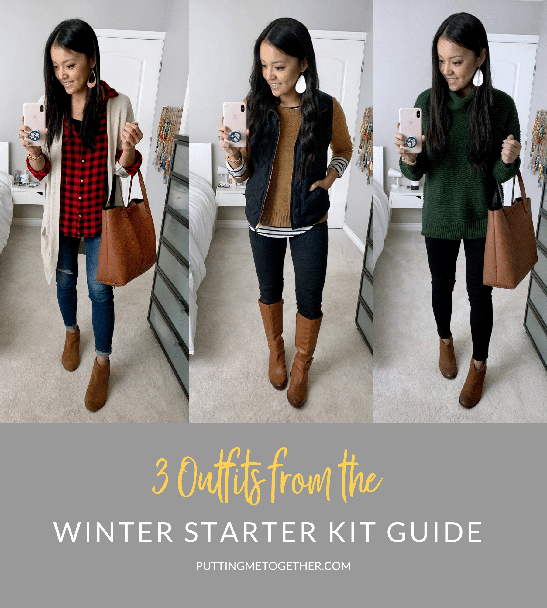 3 Casual Winter Outfits From The Winter Starter Kit Wardrobe Guide