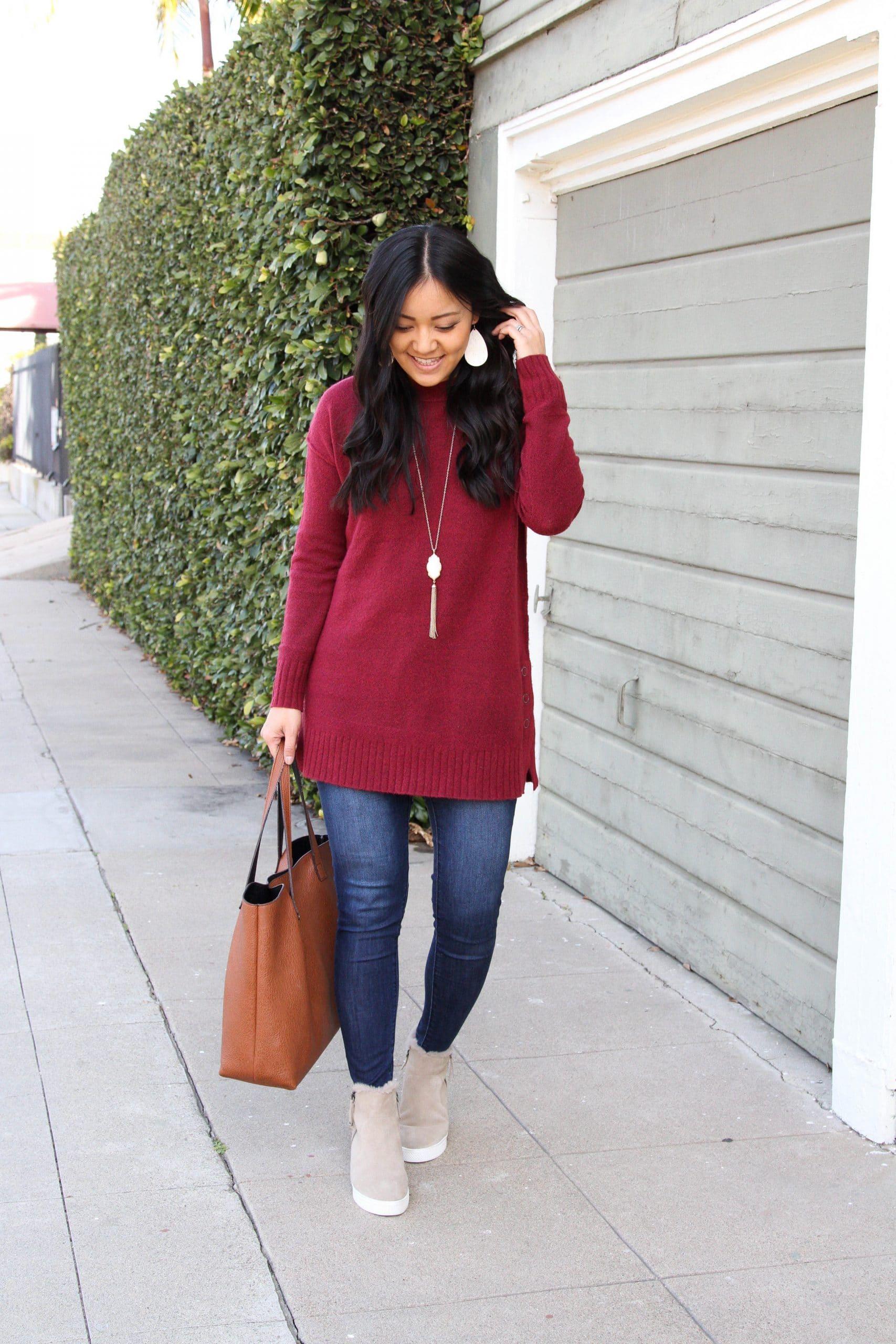 maroon sweater + wedge booties + skinny jeans + cognac tote