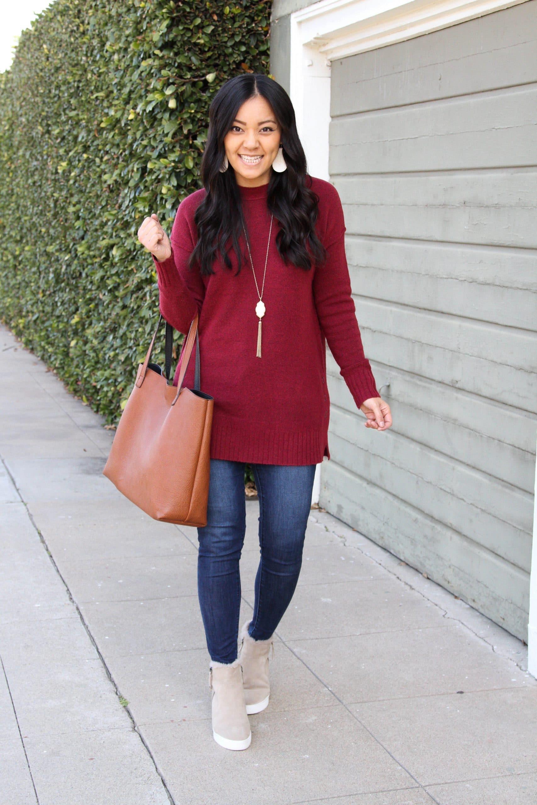maroon sweater + skinny jeans + wedge booties + cognac tote