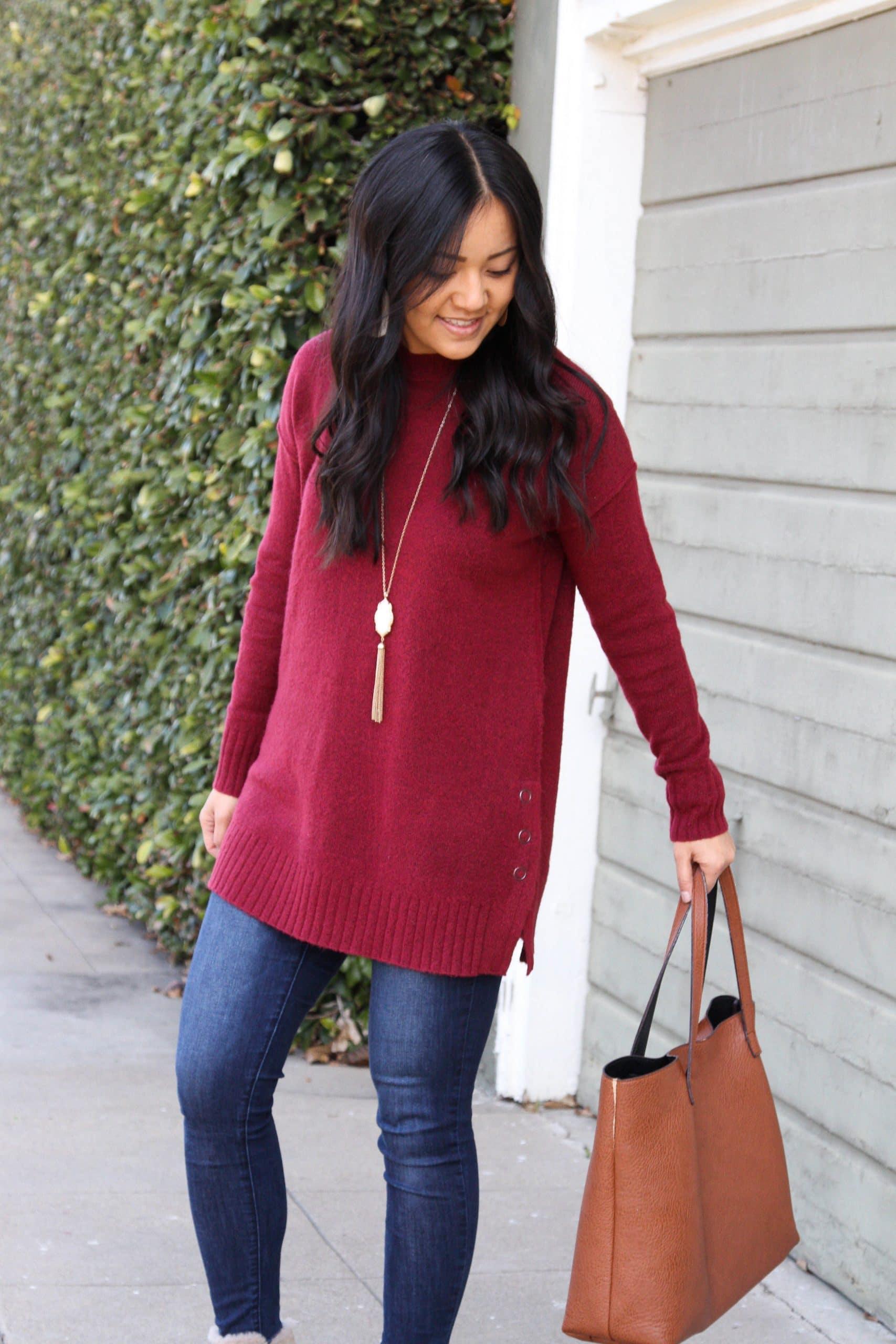 maroon sweater + cognac tote + skinny jeans + wedge booties