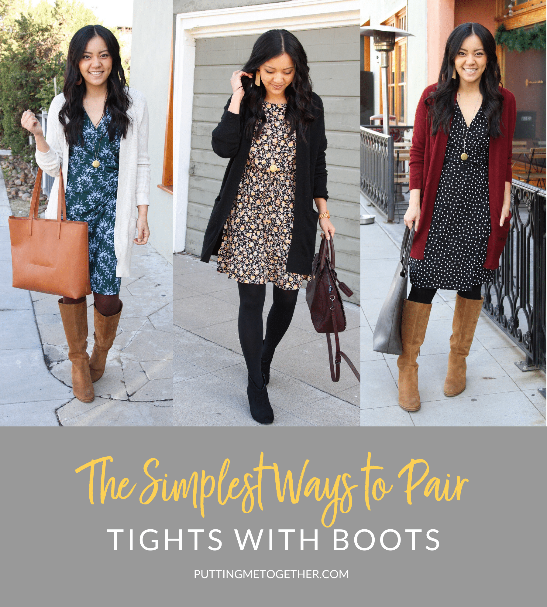 Simplest Ways to Pair Tights with Boots