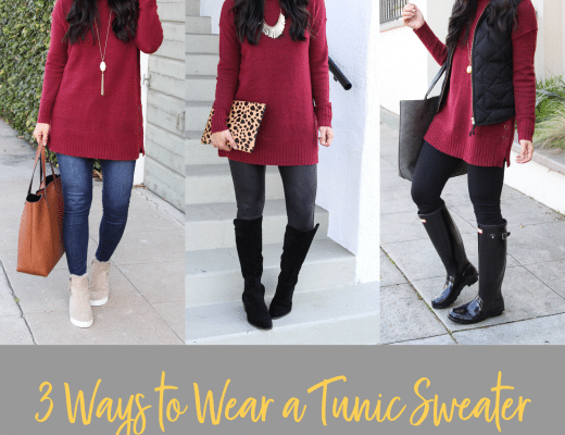 Winter Outfits With a Maroon Tunic Sweater