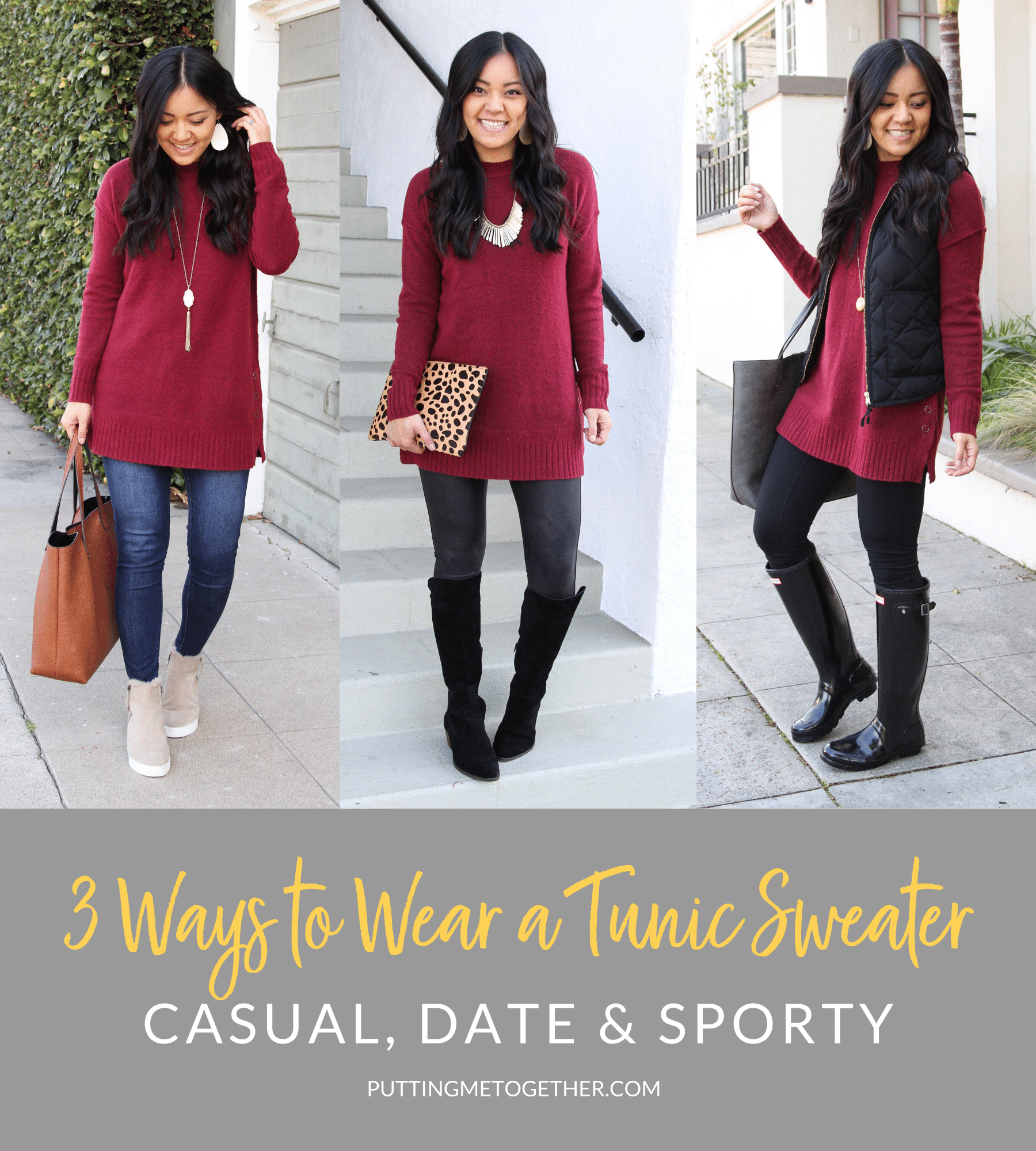 3 WAYS TO WEAR A TUNIC SWEATER