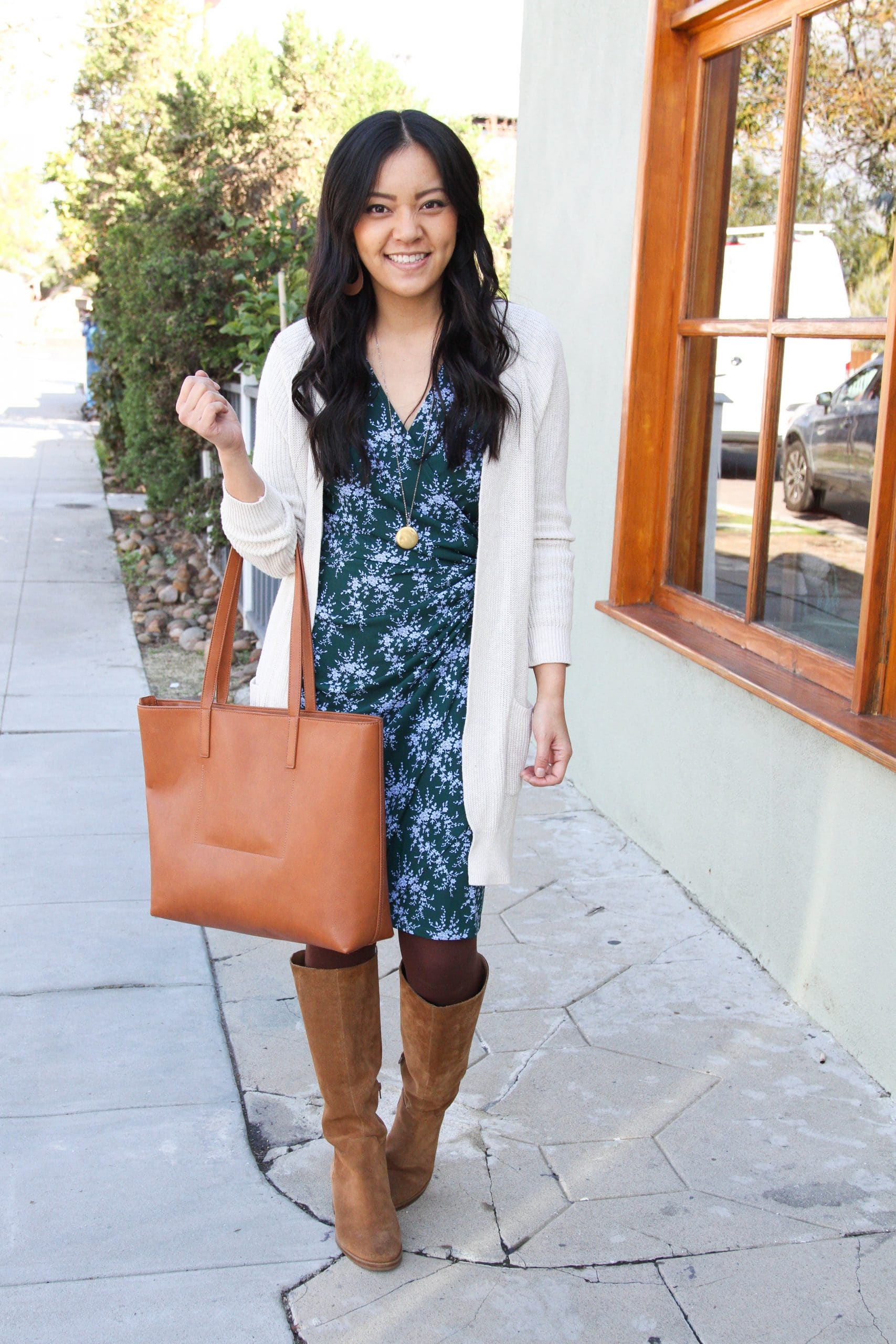 blue and green wrap dress + cream long cardigan + brown tights + cognac suede boots