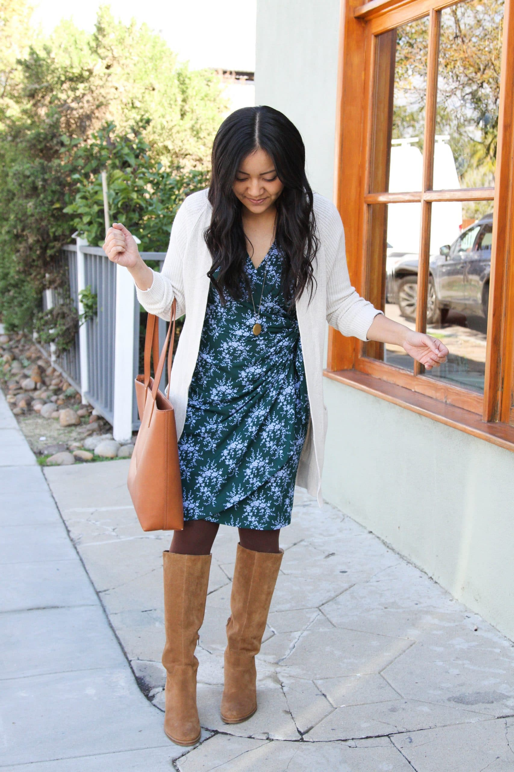 blue and green wrap dress + brown tights + cream long cardigan + cognac suede boots