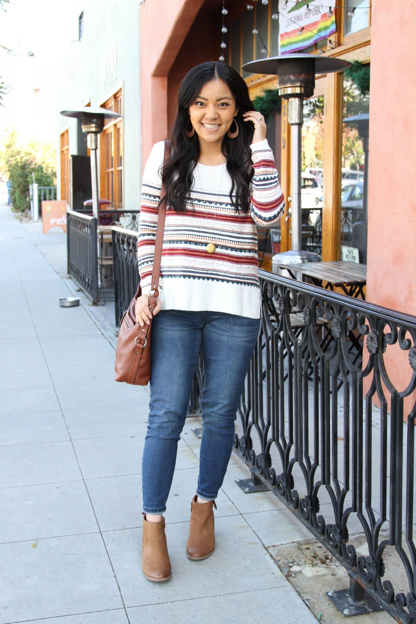 white striped sweater + skinny jeans + brown booties