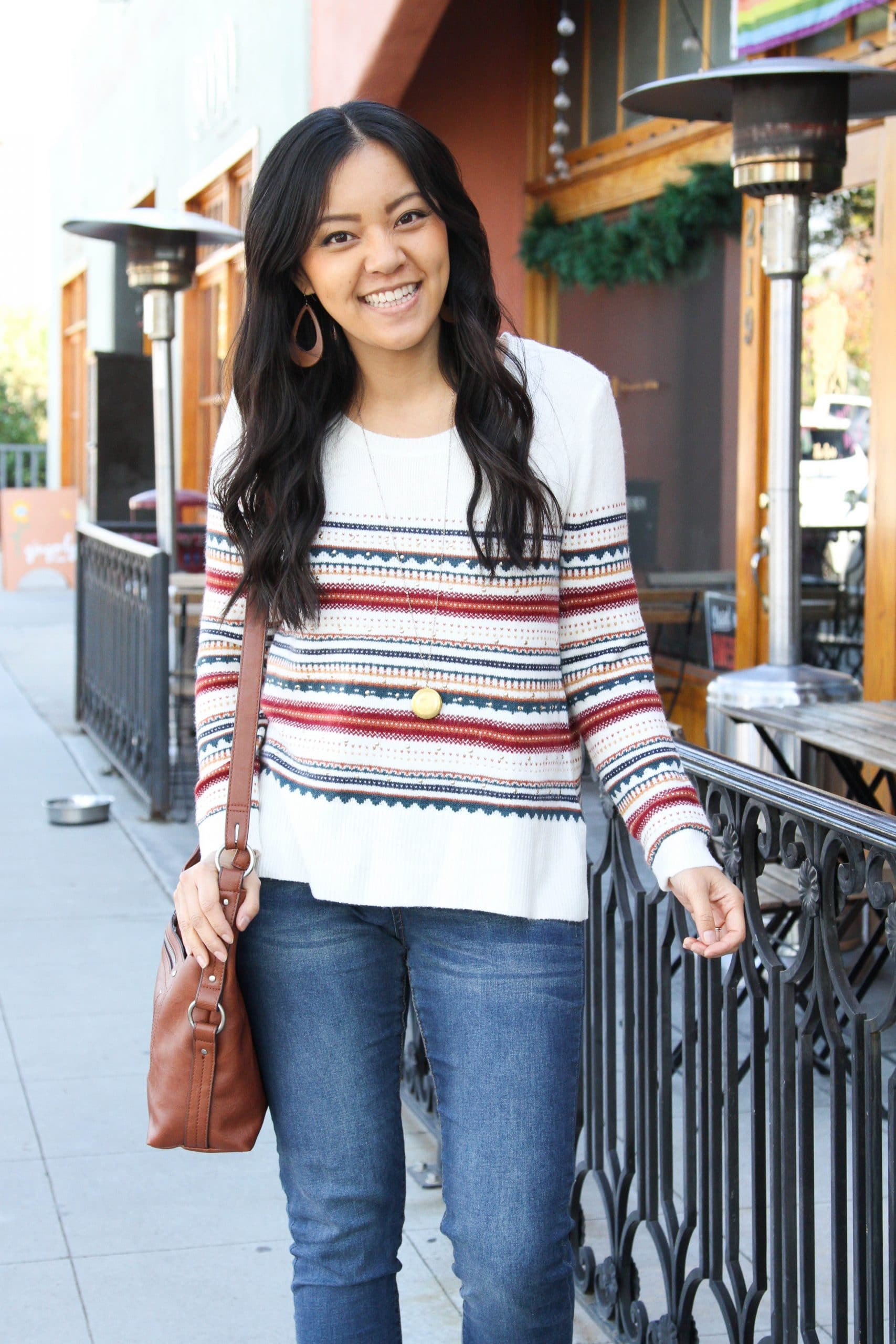 skinny jeans + white striped sweater + brown booties