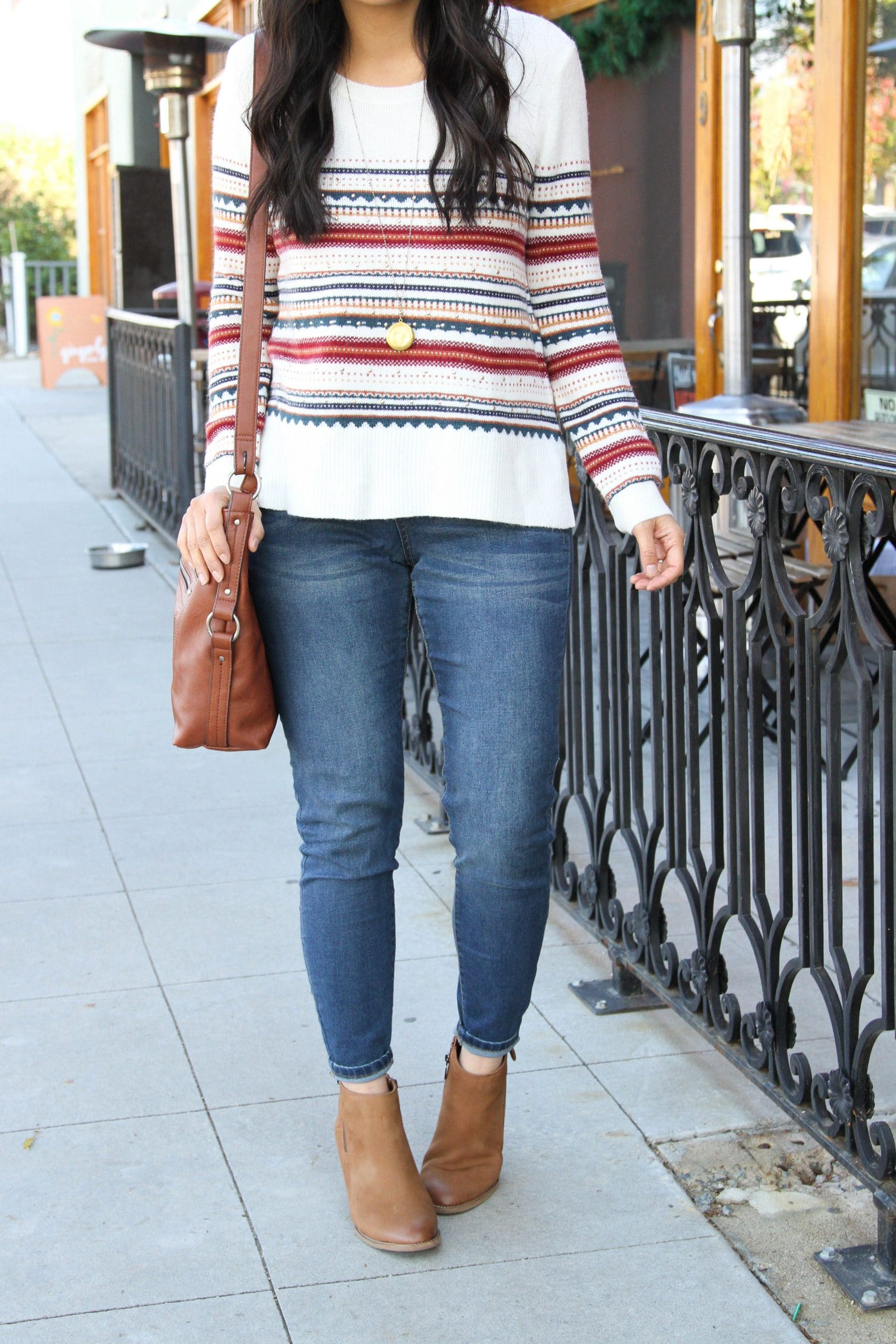 skinny jeans + brown booties + white striped sweater