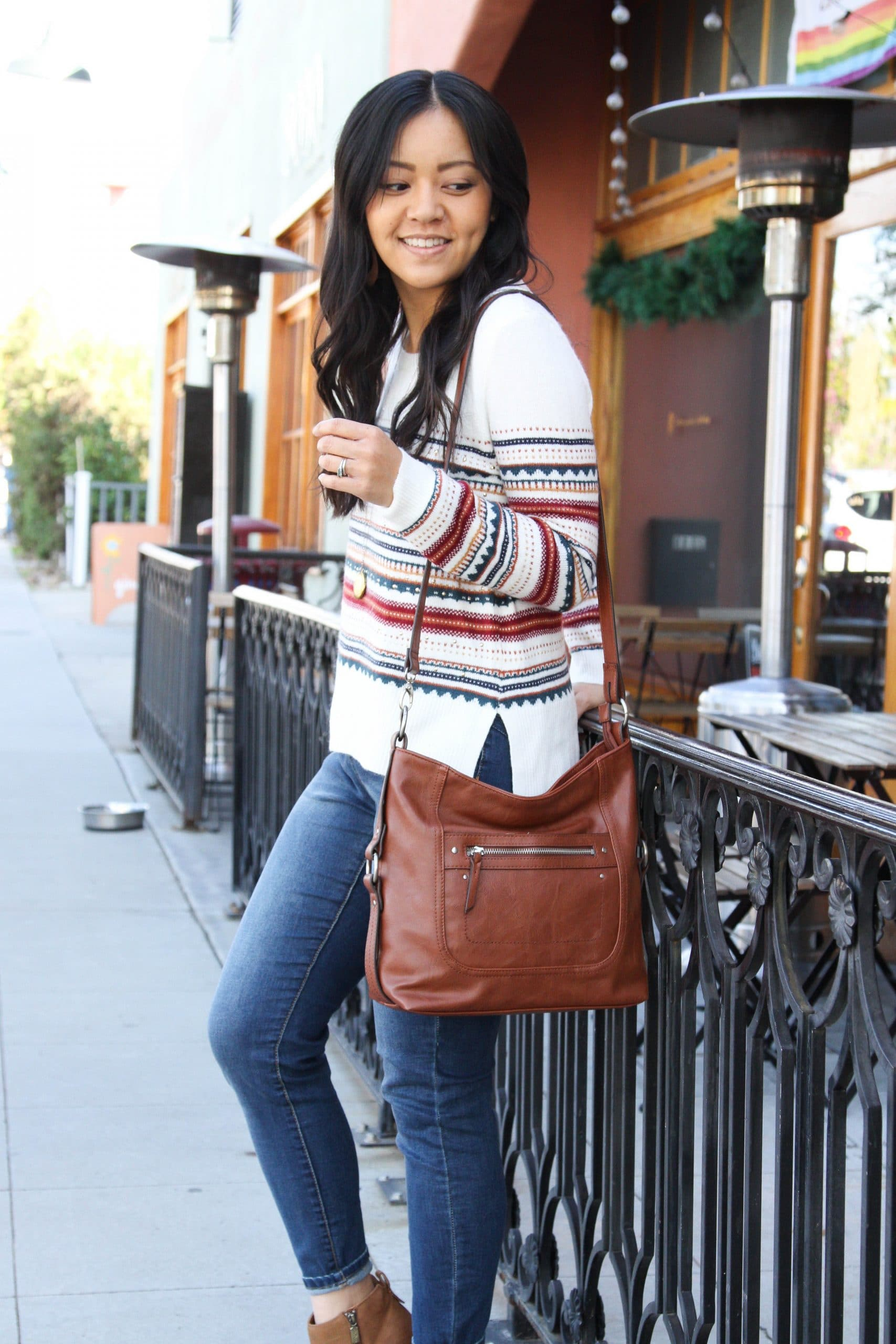 white striped sweater + brown booties + skinny jeans