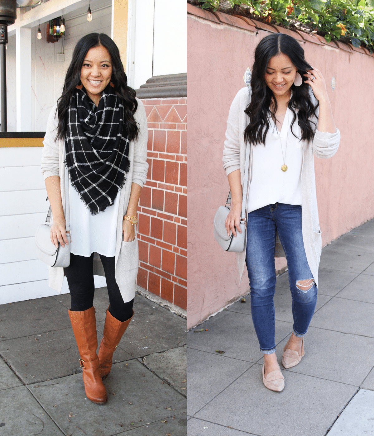 Wearing a Piece in Two Seasons - Winter and Spring: white tunic + long cream cardigan