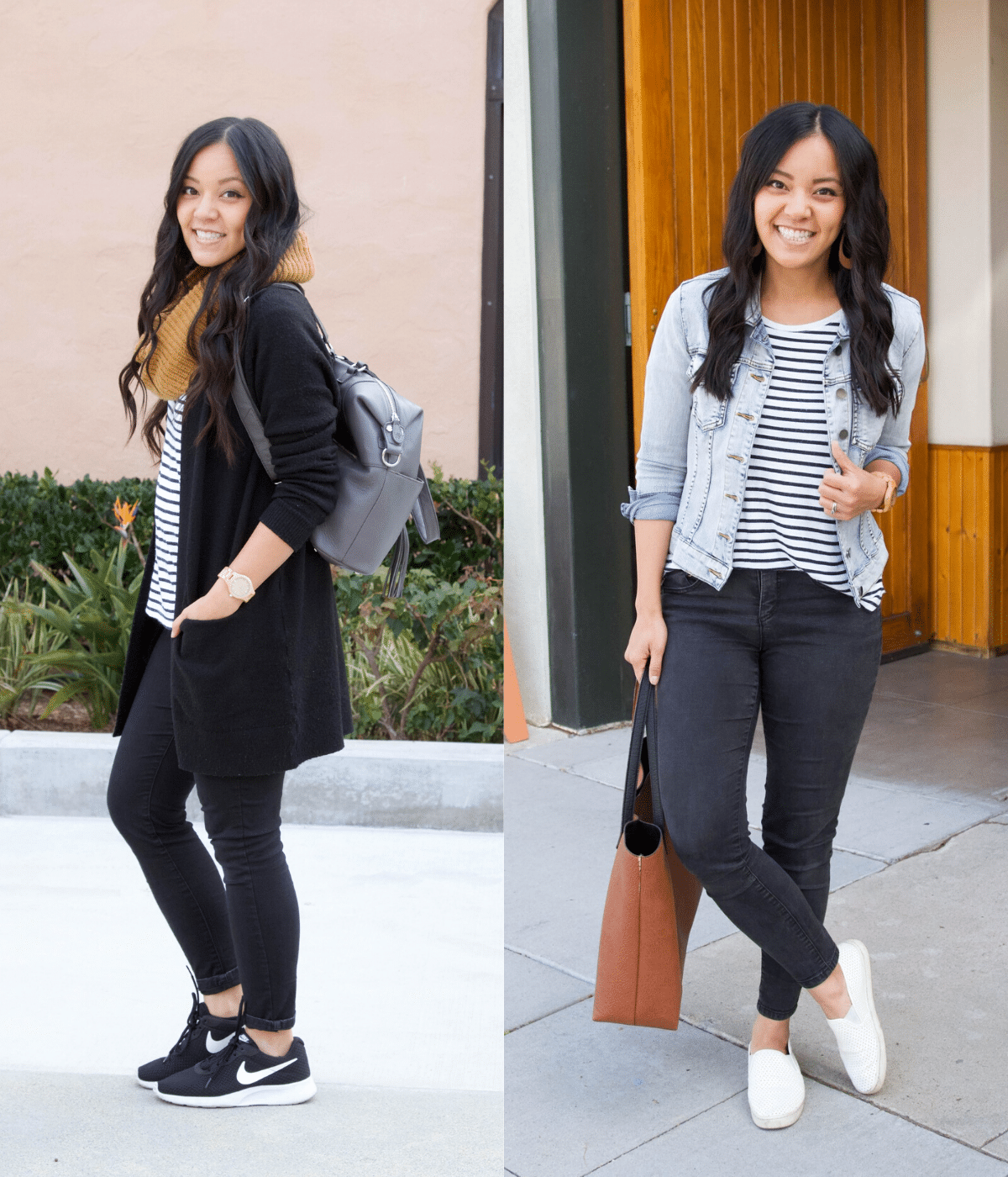 Wearing a Piece in Two Seasons - Winter and Spring: striped tee + black skinny jeans