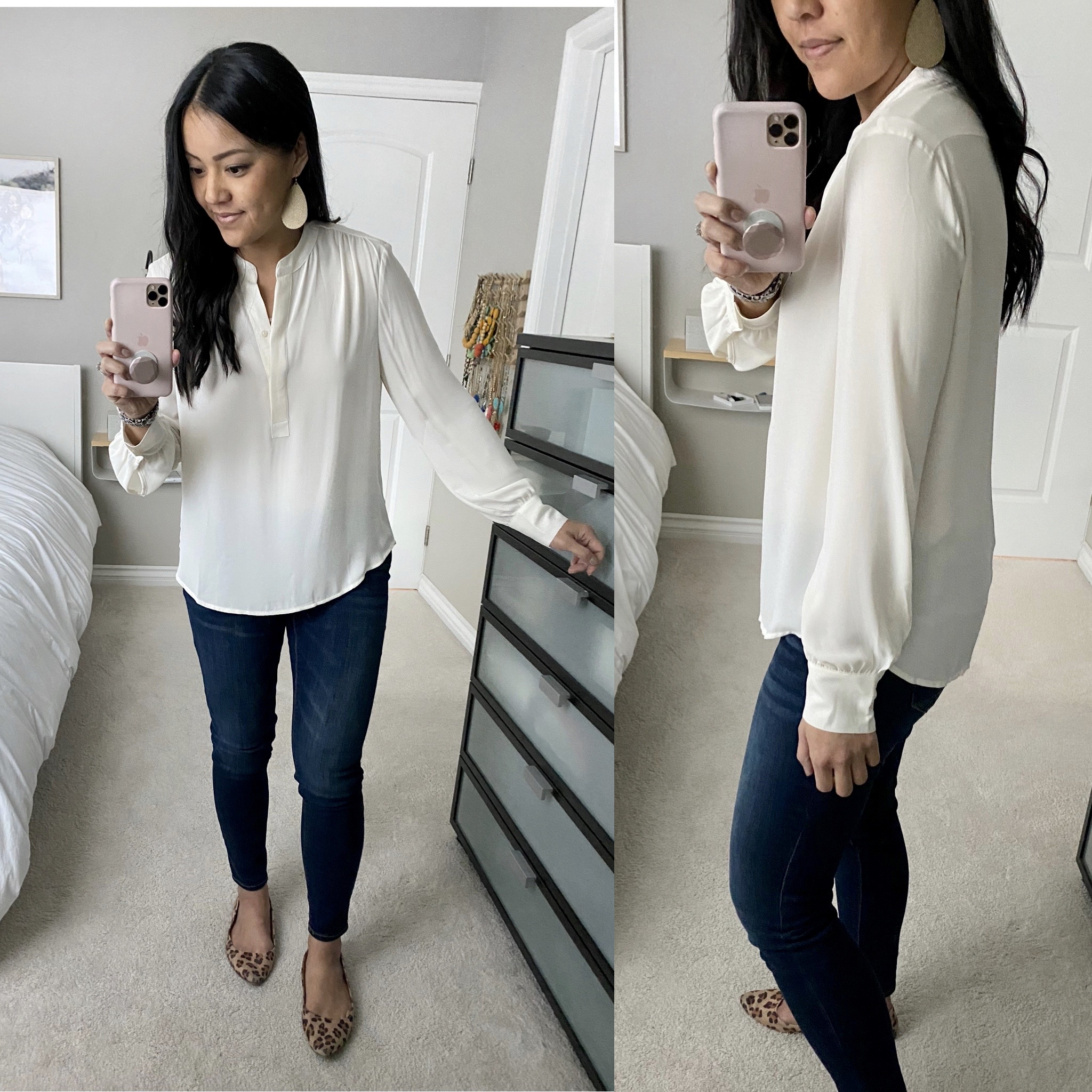 Business Casual Jeans Outfit: cream blouse + maternity skinny jeans + leopard flats + gold leather earrings