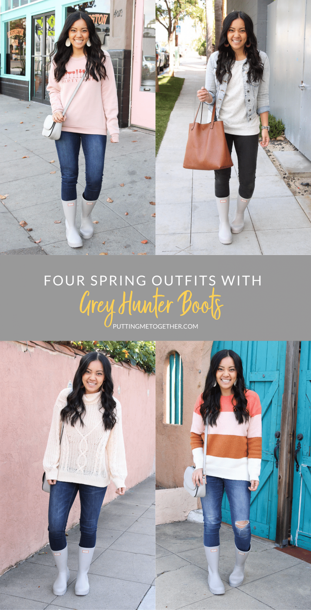 Four Outfits With Hunter Boots Grey