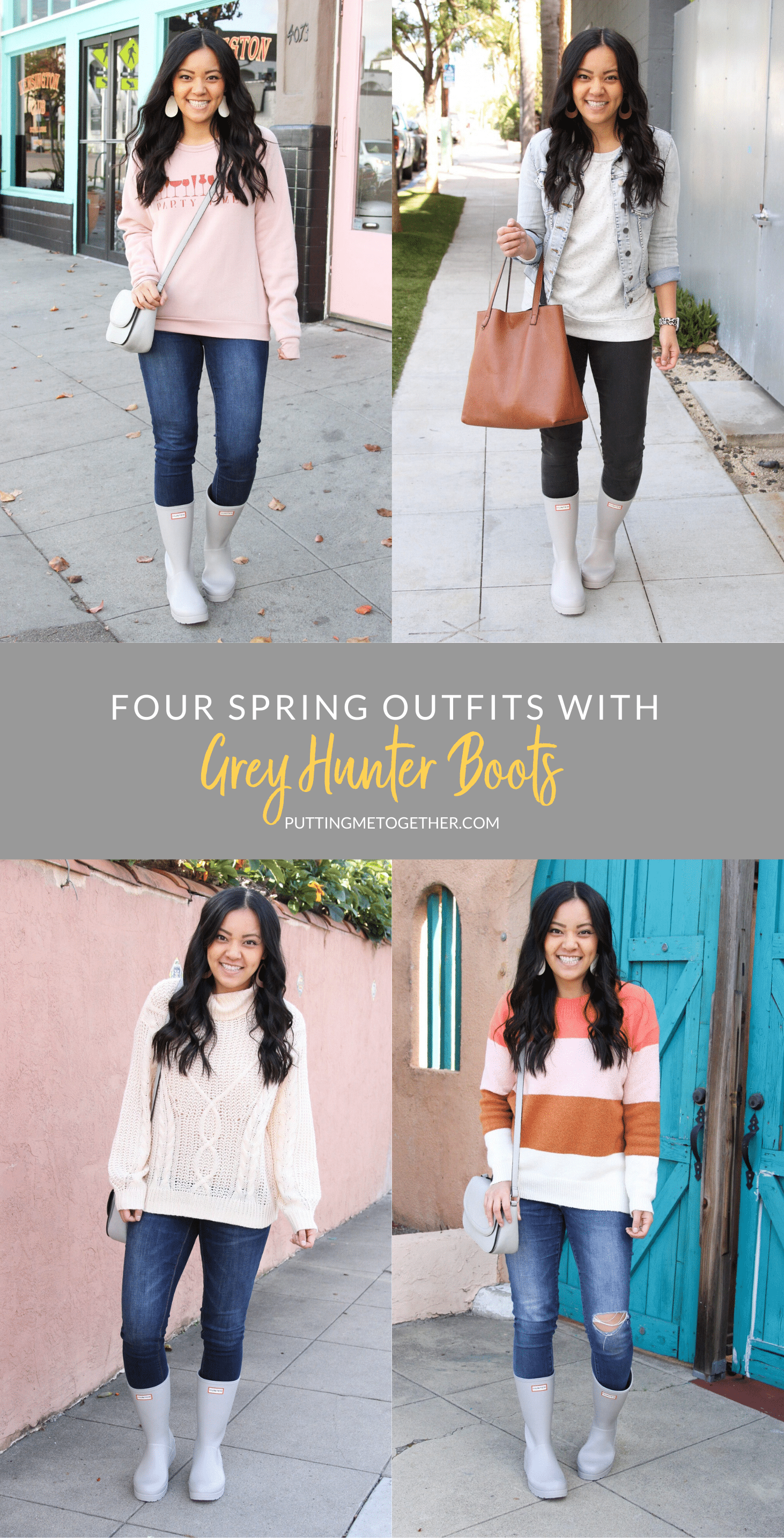 Four Spring Outfits with Grey Hunter Boots