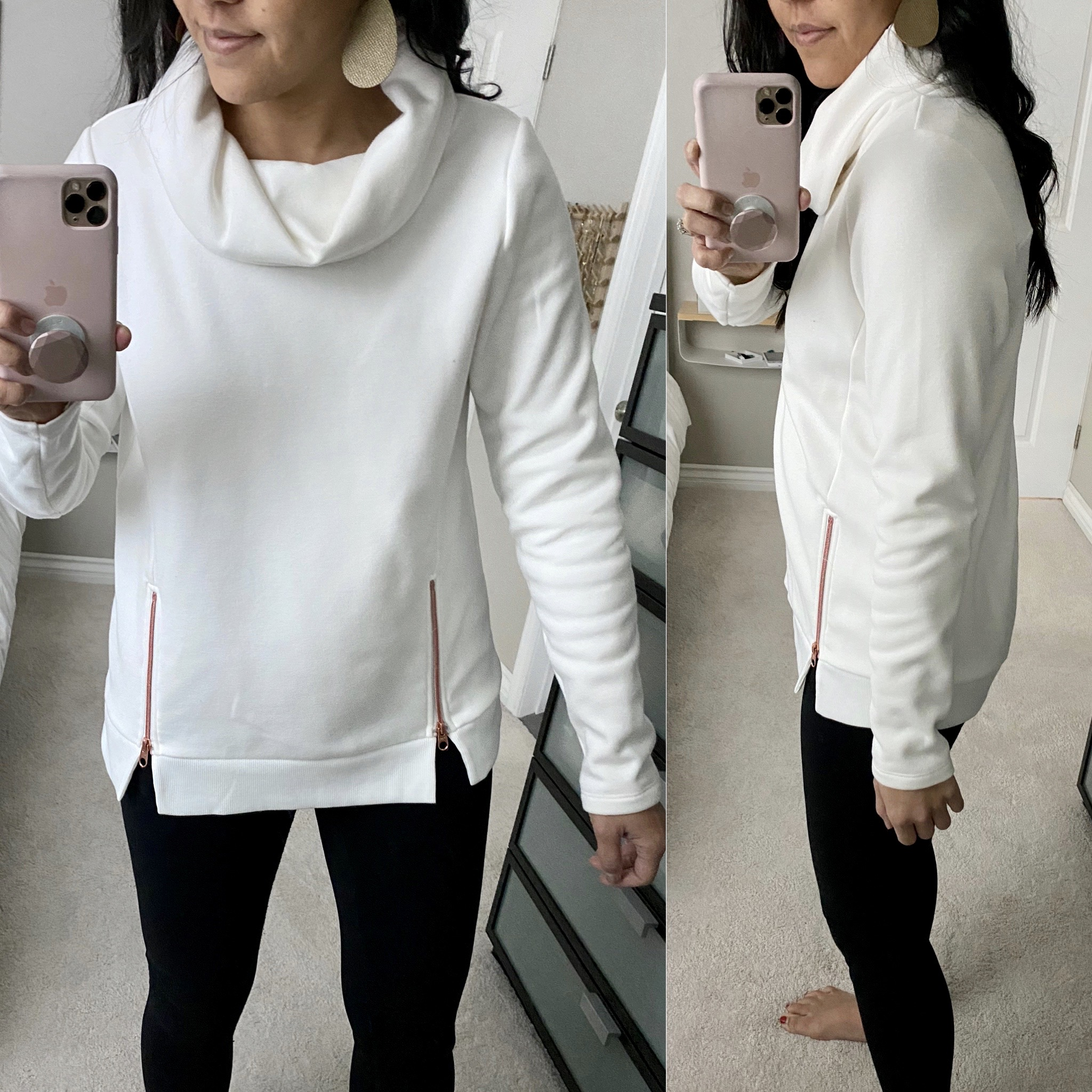 Winter Casual Outfit: black leggings + white tunic sweatshirt + gold leather earrings