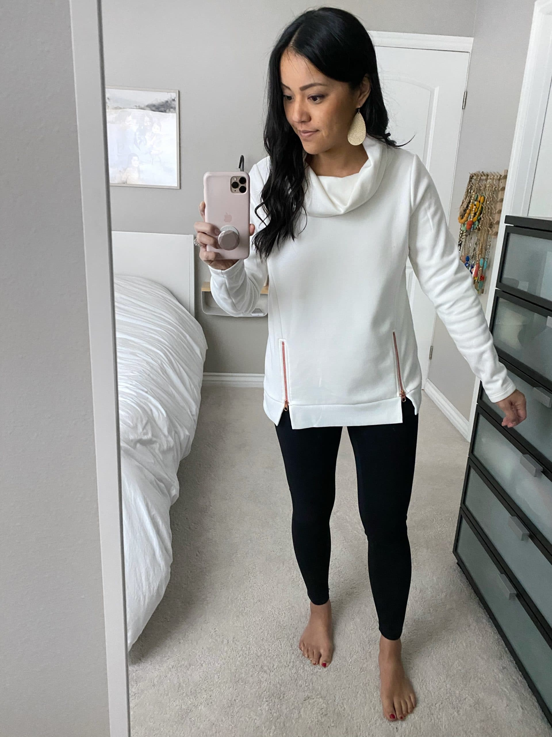 Winter Casual Outfit: white tunic sweatshirt + black leggings + gold leather earrings
