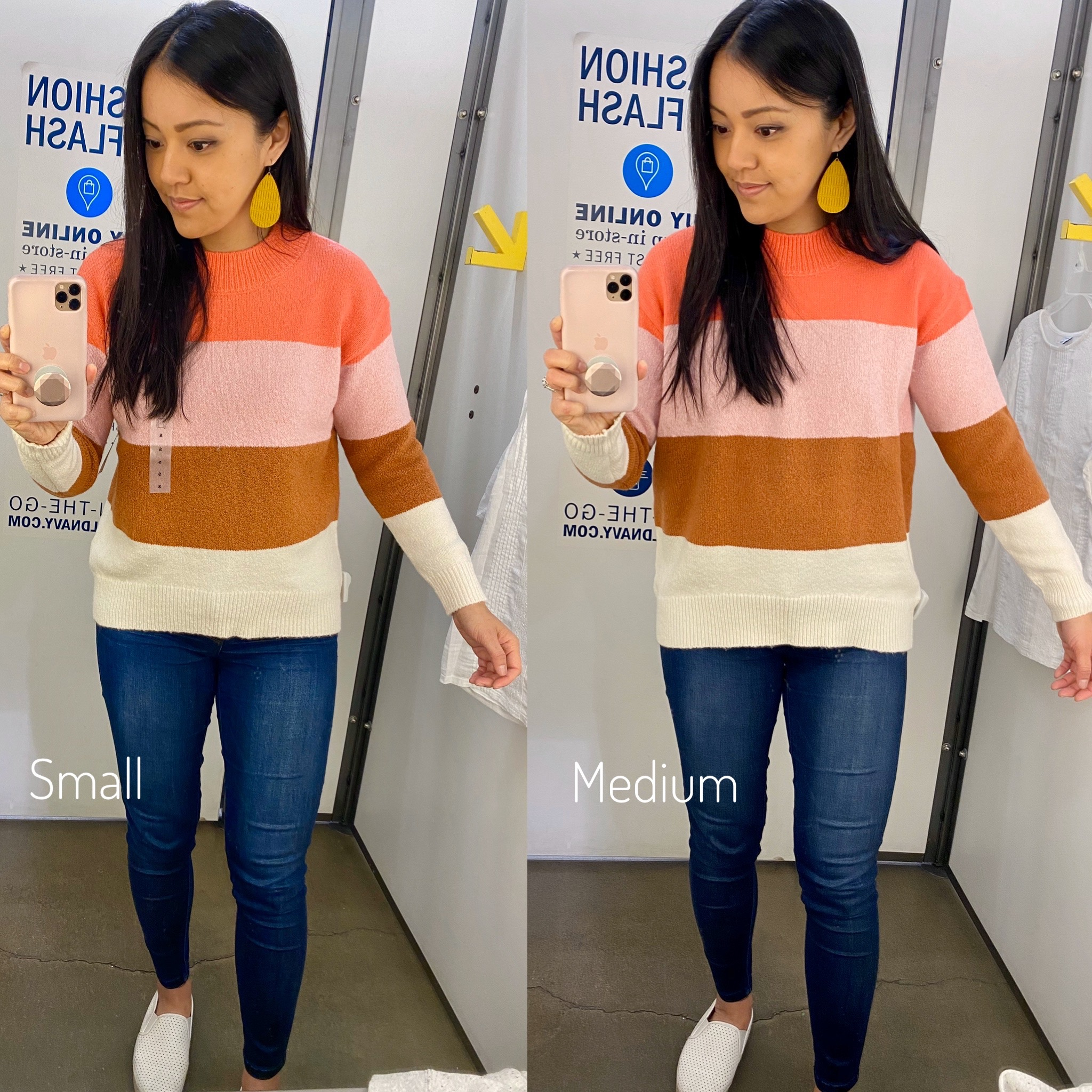 Casual Winter Outfit: pink colorblock sweater + skinny jeans + white slip-on sneakers + leather earrings