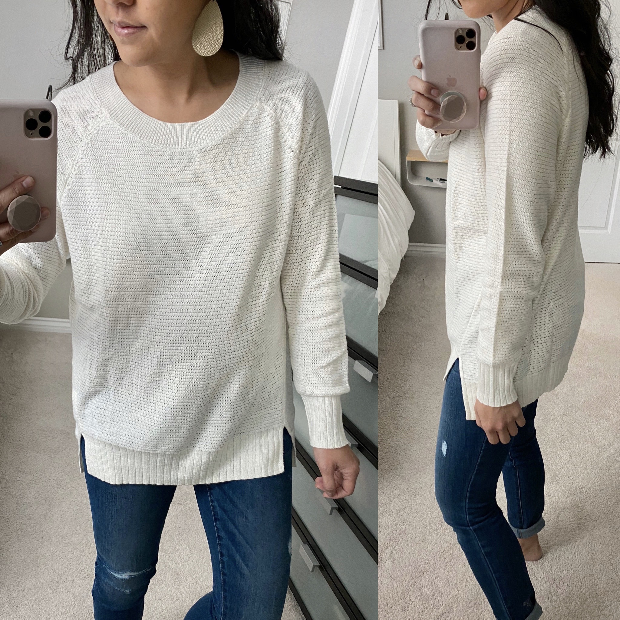 Casual Winter Outfit: maternity skinny jeans + cream tunic sweater + gold leather earrings