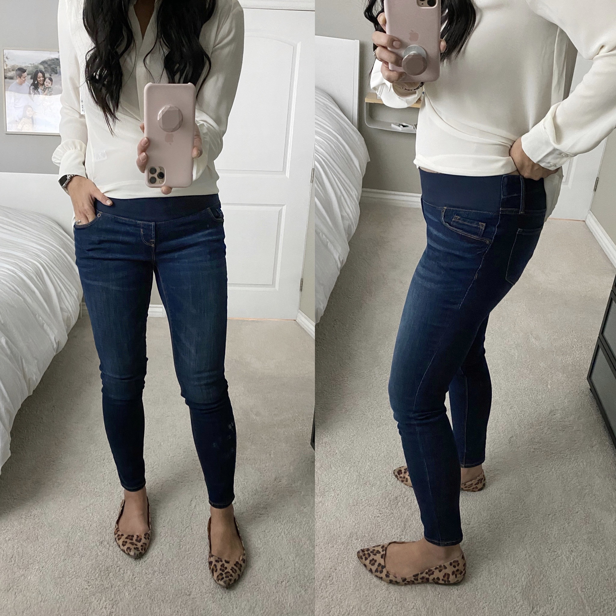 Business Casual Jeans Outfit: cream long-sleeve blouse + maternity skinny jeans + leopard flats