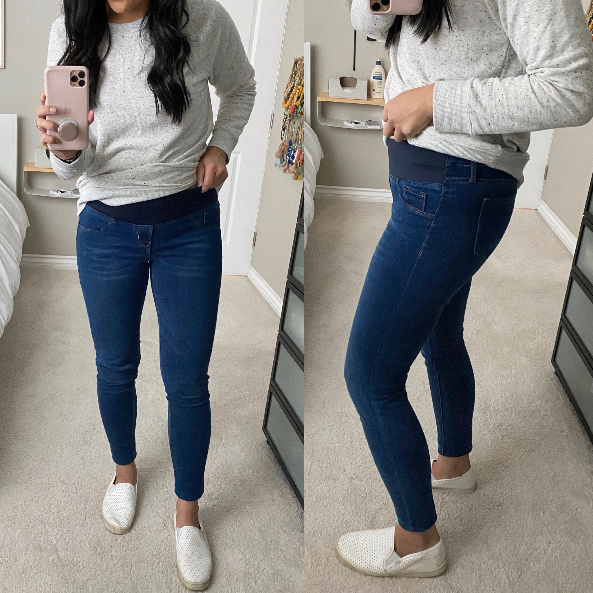 Casual Winter Outfit: gray speckled sweatshirt + maternity skinny jeans