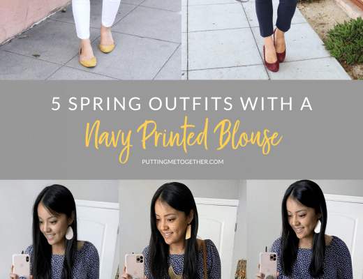 5 Spring Outfits With a Navy Printed Top