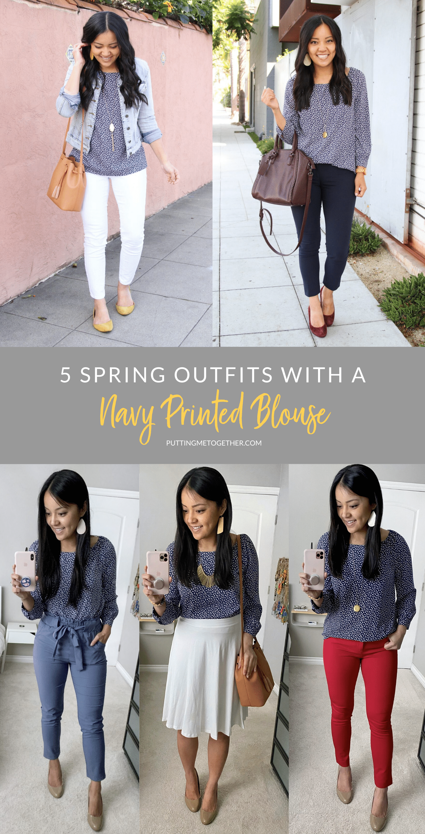 5 Spring outfits with a Navy Printed Blouse