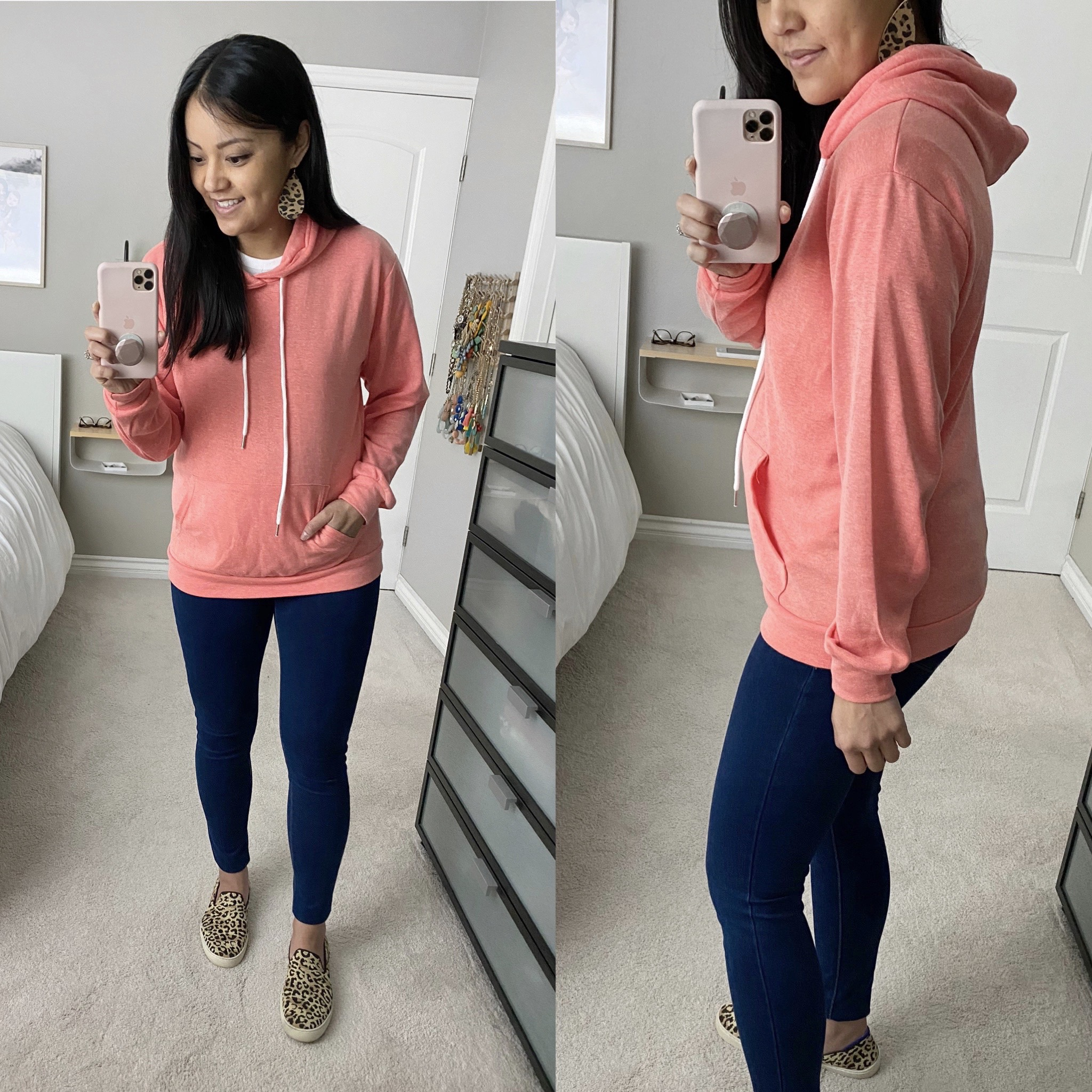 Casual Spring Outfit: orange pullover hoodie + dark skinny jeans + leopard slip-on sneakers + leopard leather earrings