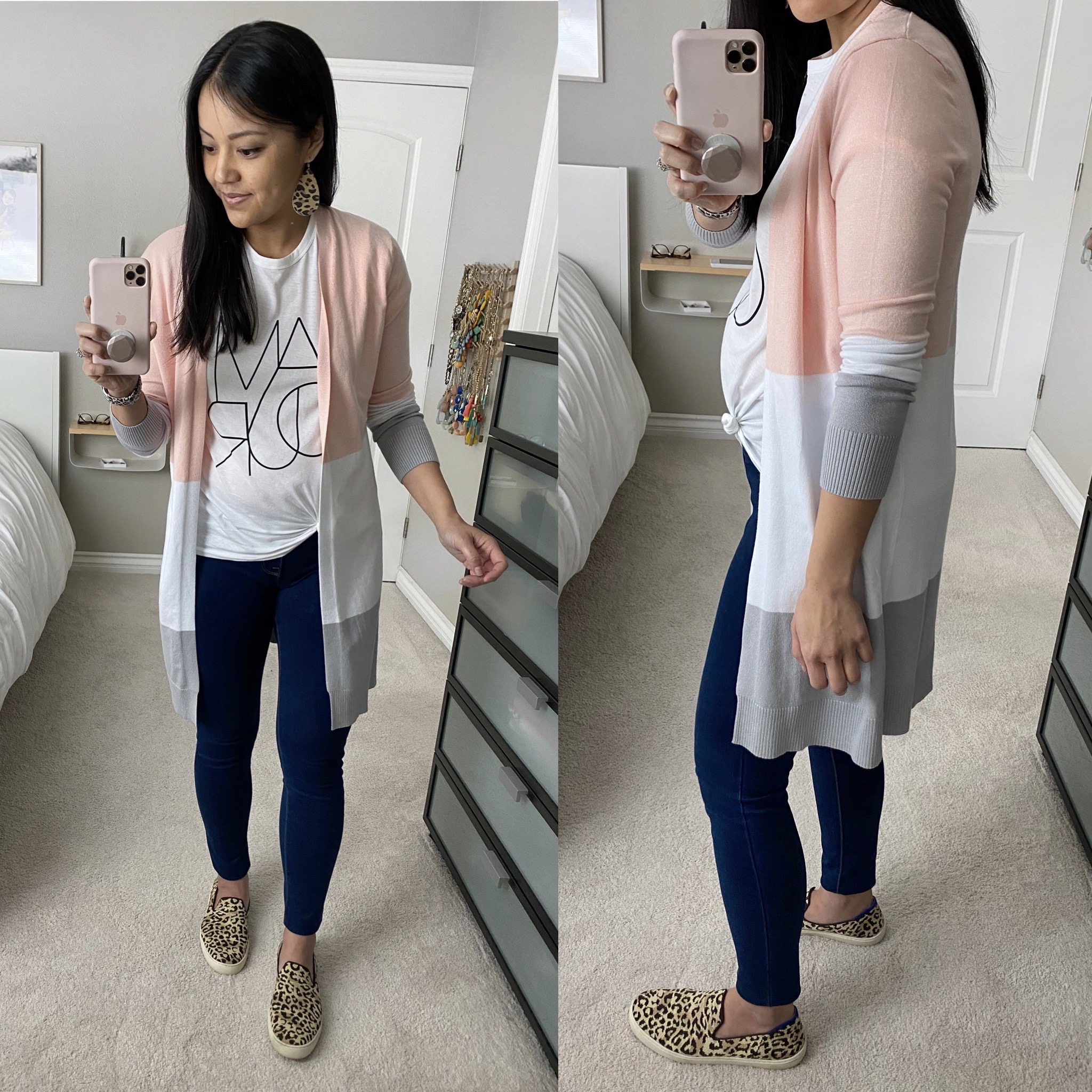 Casual Spring Outfit: white graphic tee + long pink and grey color block cardigan + dark skinny jeans + leopard slip-on sneakers + leopard leather earrings