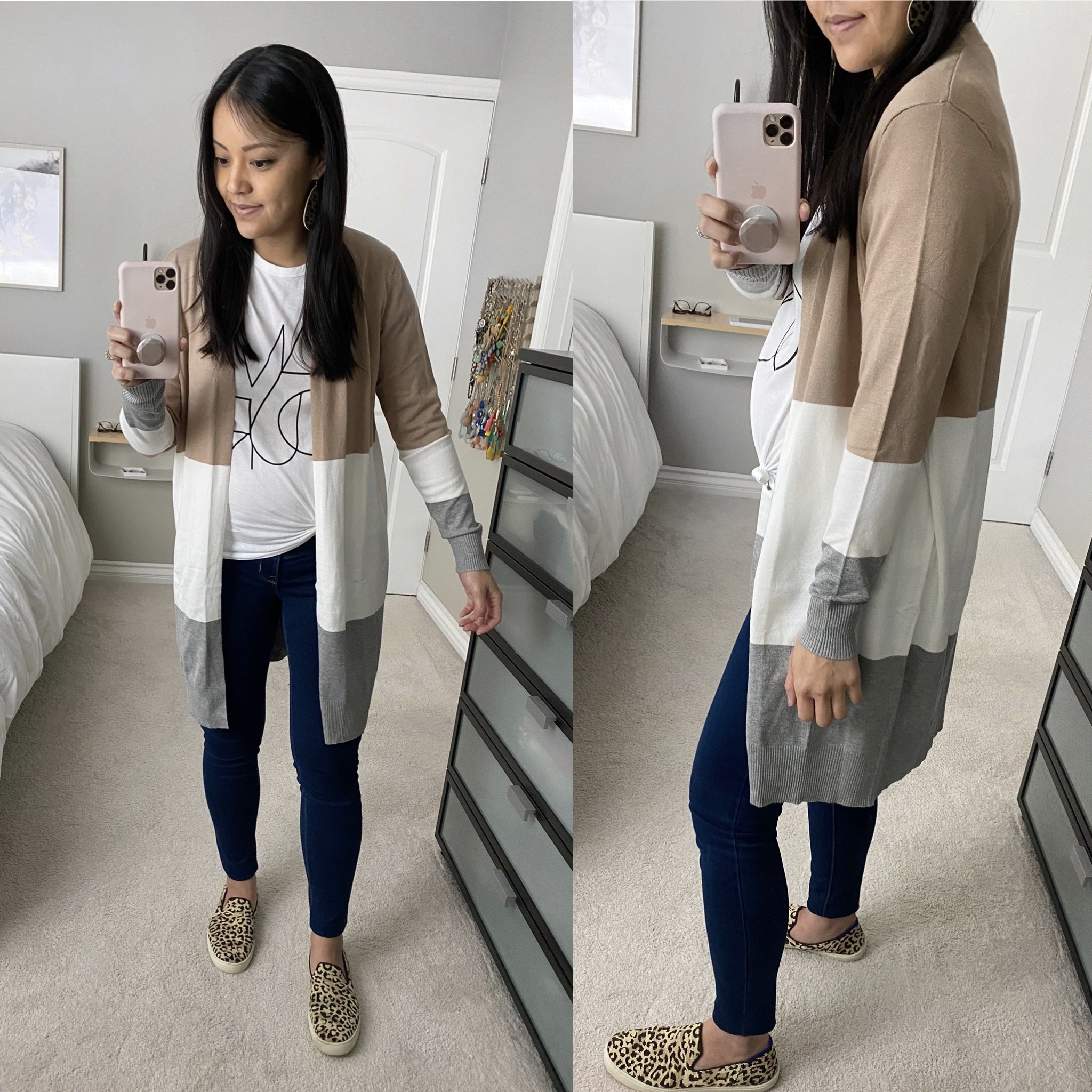 Casual Spring Outfit: white graphic tee + long tan and grey color block cardigan + dark skinny jeans + leopard slip-on sneakers + leopard leather earrings