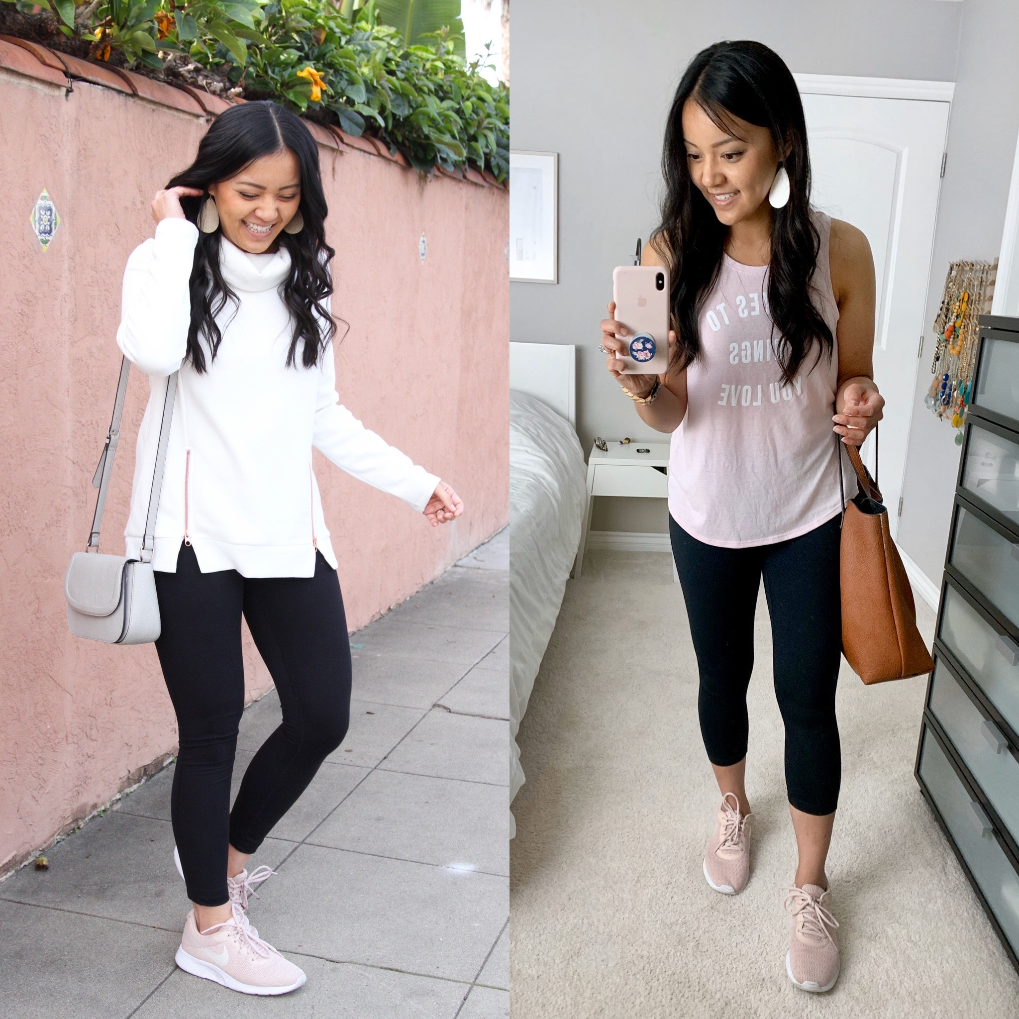 Black Leggings Outfits with Pink Blush Sneakers