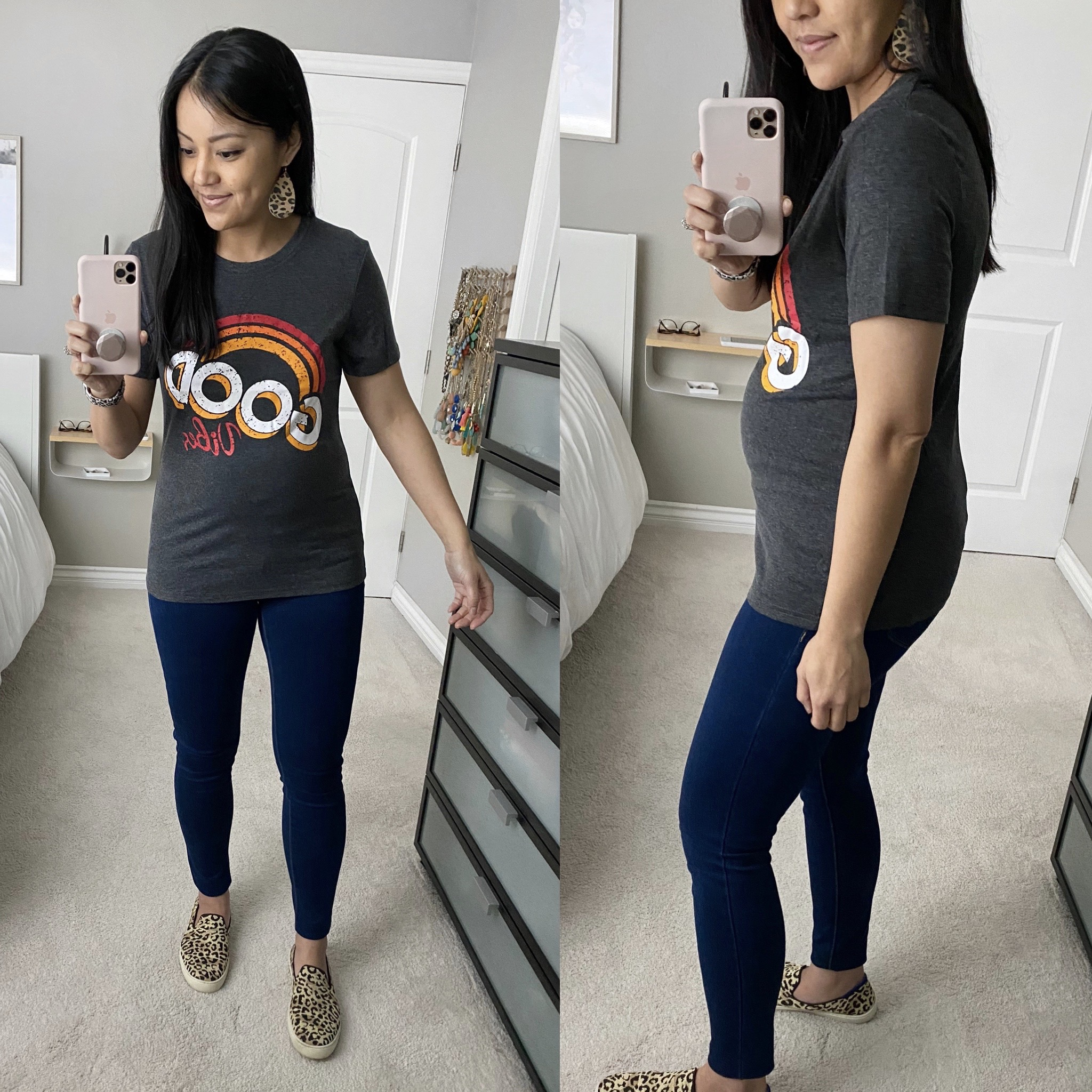 Casual Spring Outfit: dark skinny jeans + grey graphic tee + leopard leather earrings + leopard slip-on sneakers