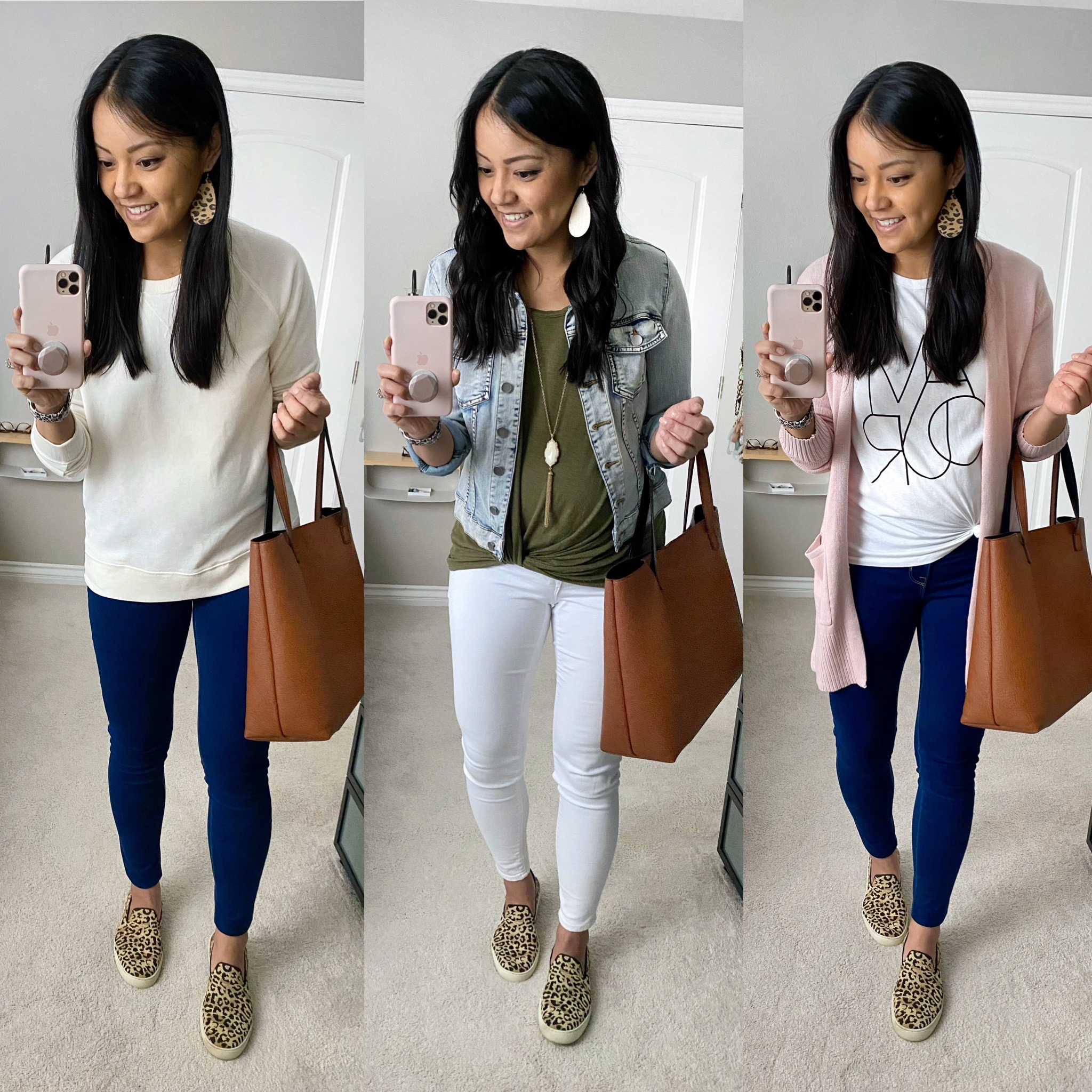 Casual Spring Outfits with Leopard Slip-on Sneakers