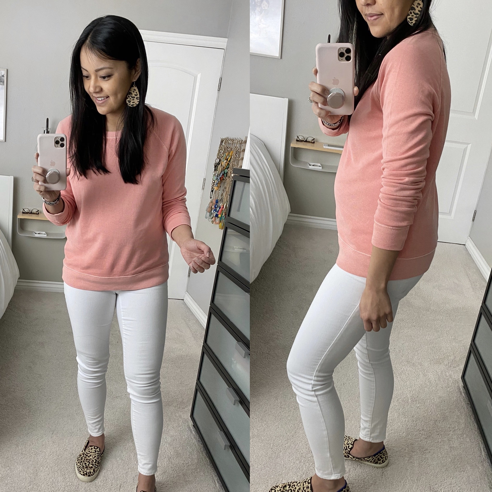 Casual White Jeans Outfit: pink pullover sweatshirt + white skinny jeans + leopard slip-on sneakers + leopard leather earrings