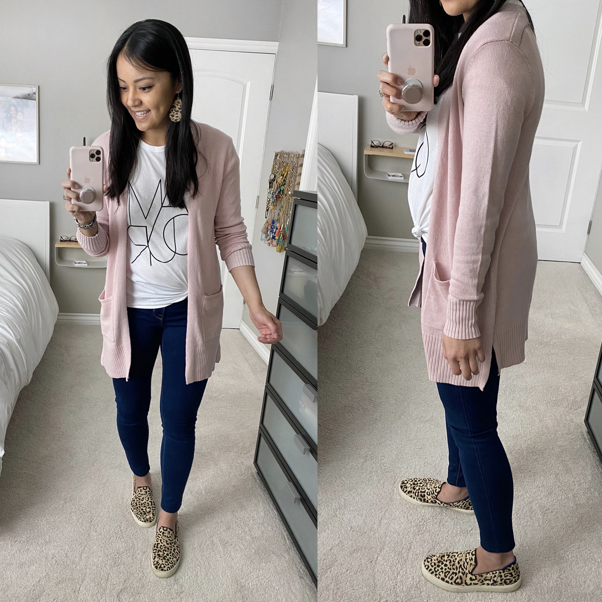 Casual Spring Outfit: white graphic tee + long blush pink cardigan + dark skinny jeans + leopard slip-on sneakers + leopard leather earrings