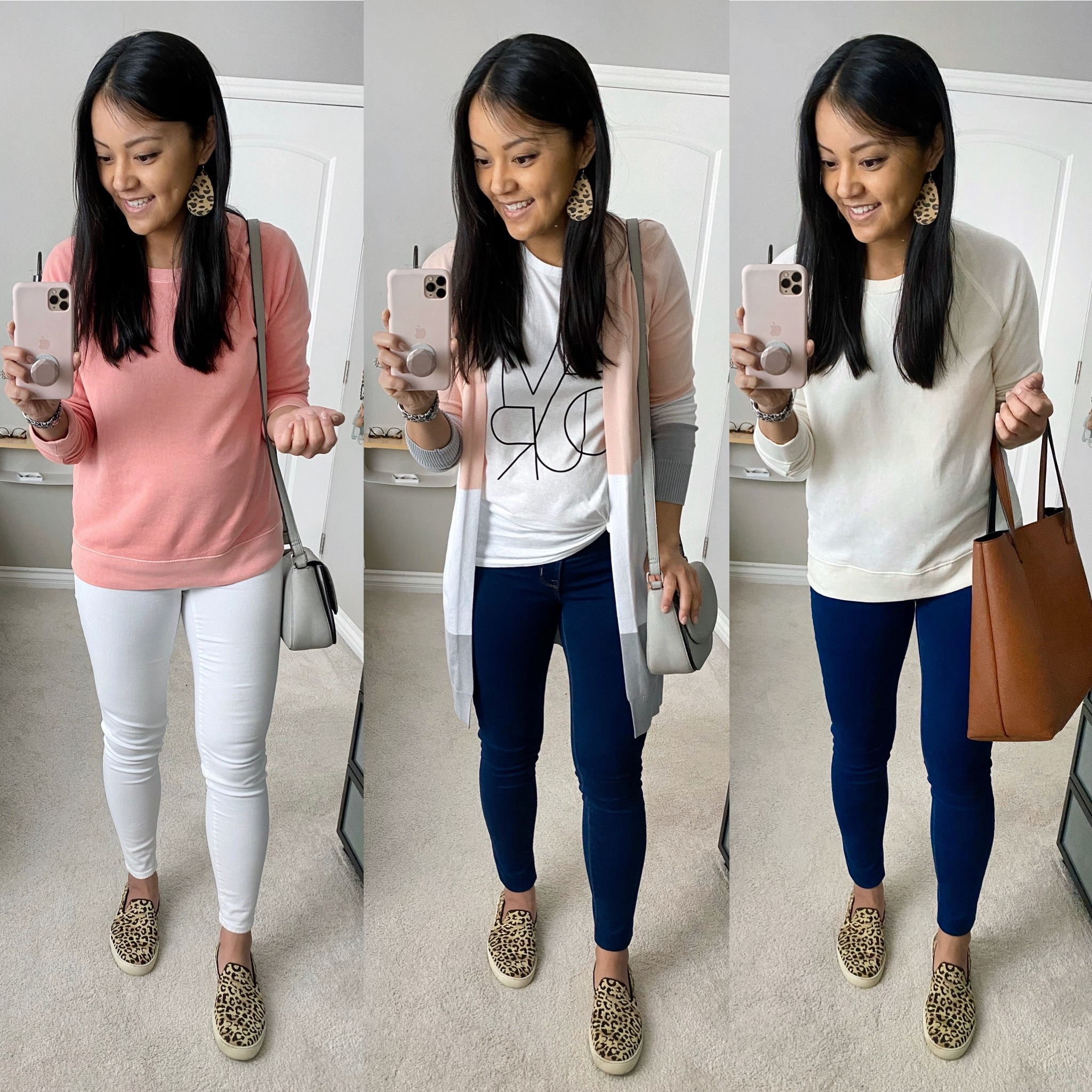 Casual Spring Outfits with Leopard Sneakers and Leopard Leather Earrings