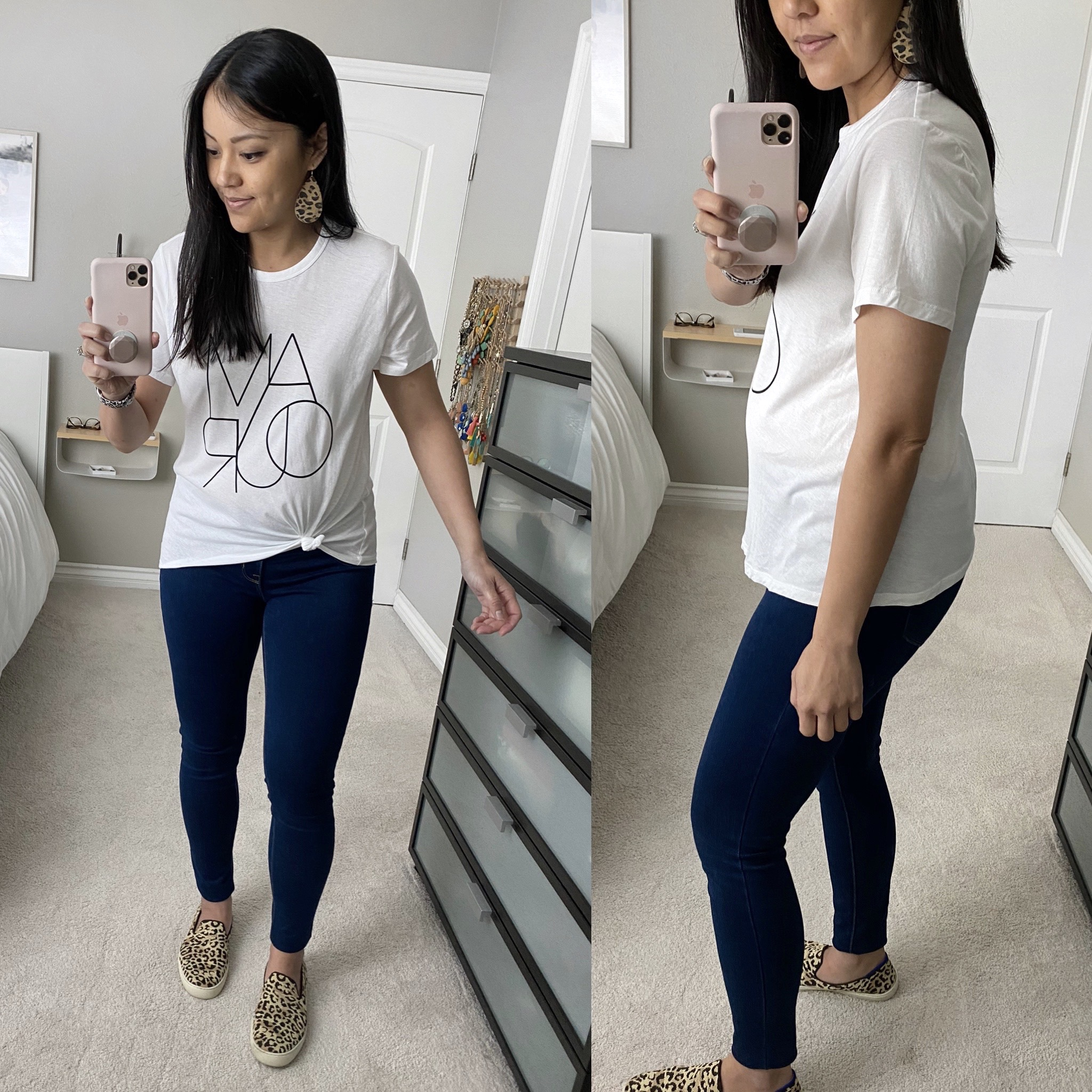 Casual Spring Outfit: dark skinny jeans + white graphic tee + leopard leather earrings + leopard slip-on sneakers