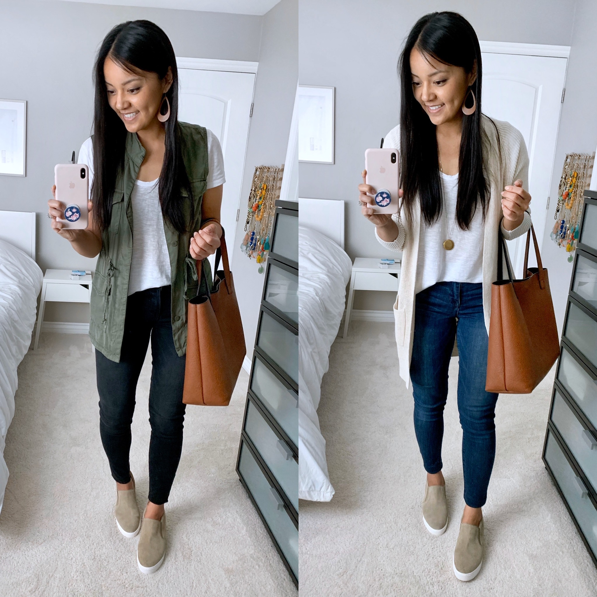 Casual Spring Outfits with Taupe Slip-on Sneakers