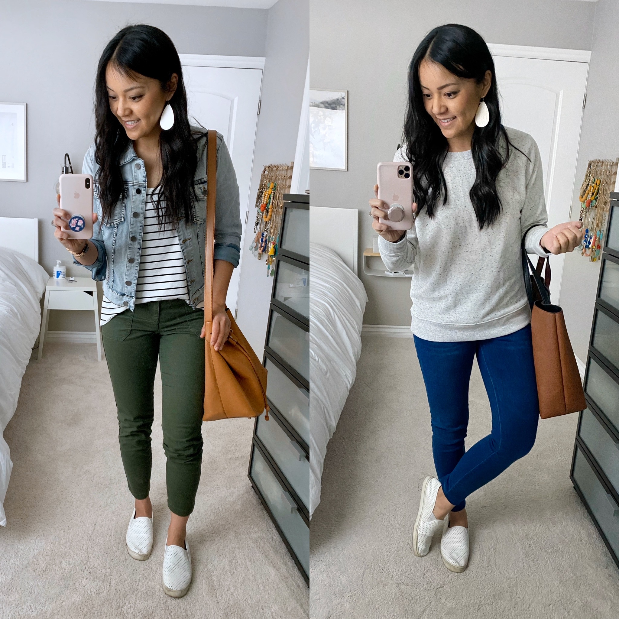 Casual Spring Outfits with White Slip-On Sneakers