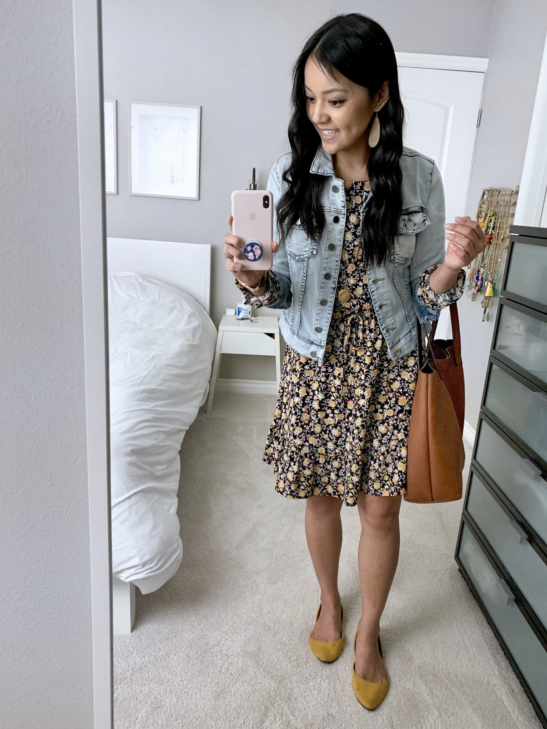 Spring Dress Outfit: floral dress + denim jacket + yellow flats + cognac tote + gold leather teardrop earrings