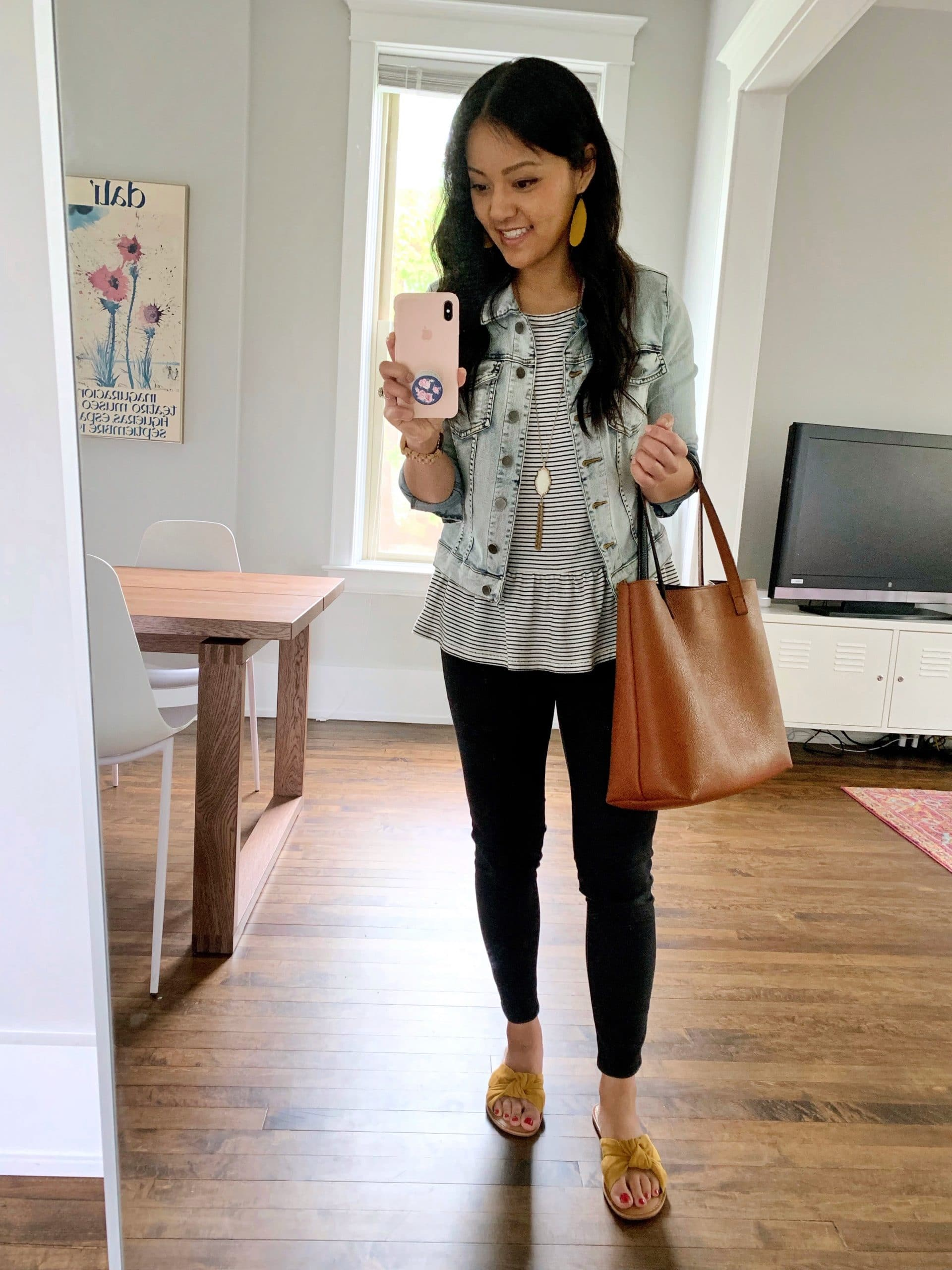 Black Jeans Outfit: striped peplum tee + denim jacket + black skinny jeans + yellow knotted sandals + cognac tote + gold tassel pendant necklace + yellow leather earrings