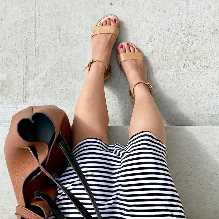 Tan Born Sandals + Striped Dress + Cognac Tote