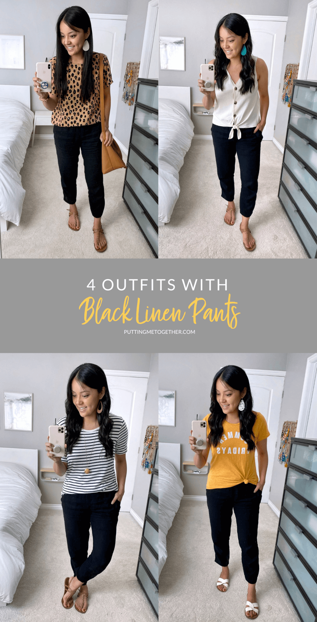 4 Outfits with Black Linen Pants