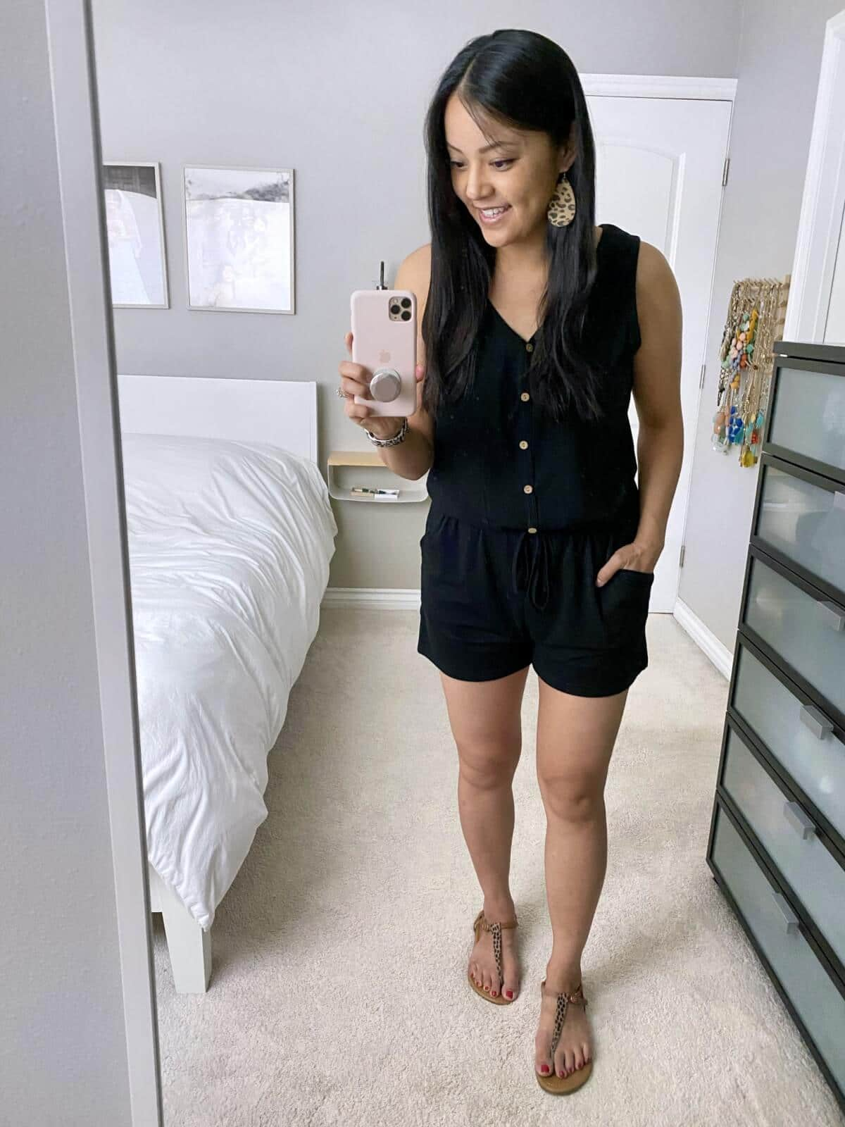 Comfy Casual Outfit: black button-front romper + leopard print t-strap sandals + leopard print leather earrings