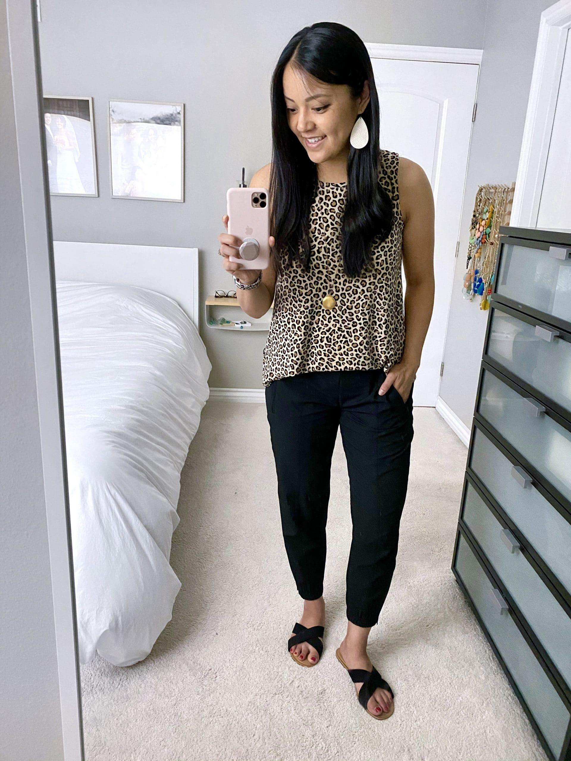 Summer Joggers Outfit: leopard tank top + black joggers + black slide sandals + long gold disc pendant necklace + blush leather earrings