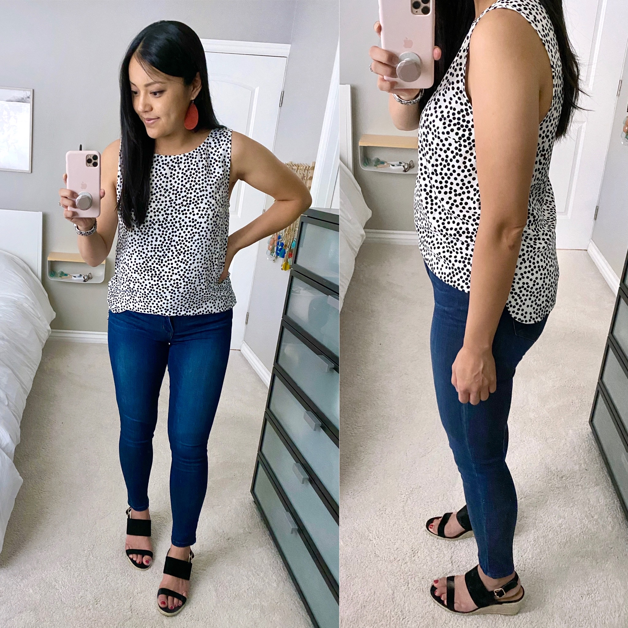 Casual Summer Outfit: black and white spotted tank top + skinny jeans + black wedge sandals + red leather earrings