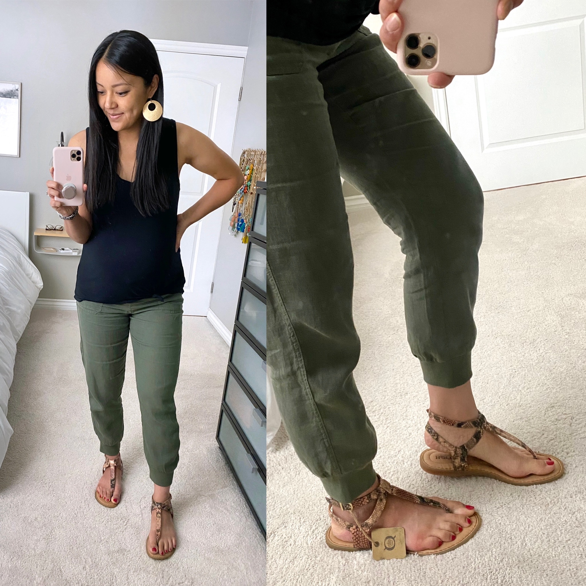 Casual Summer Outfit: navy tank top + olive linen joggers + leopard t-strap sandals + gold leather earrings