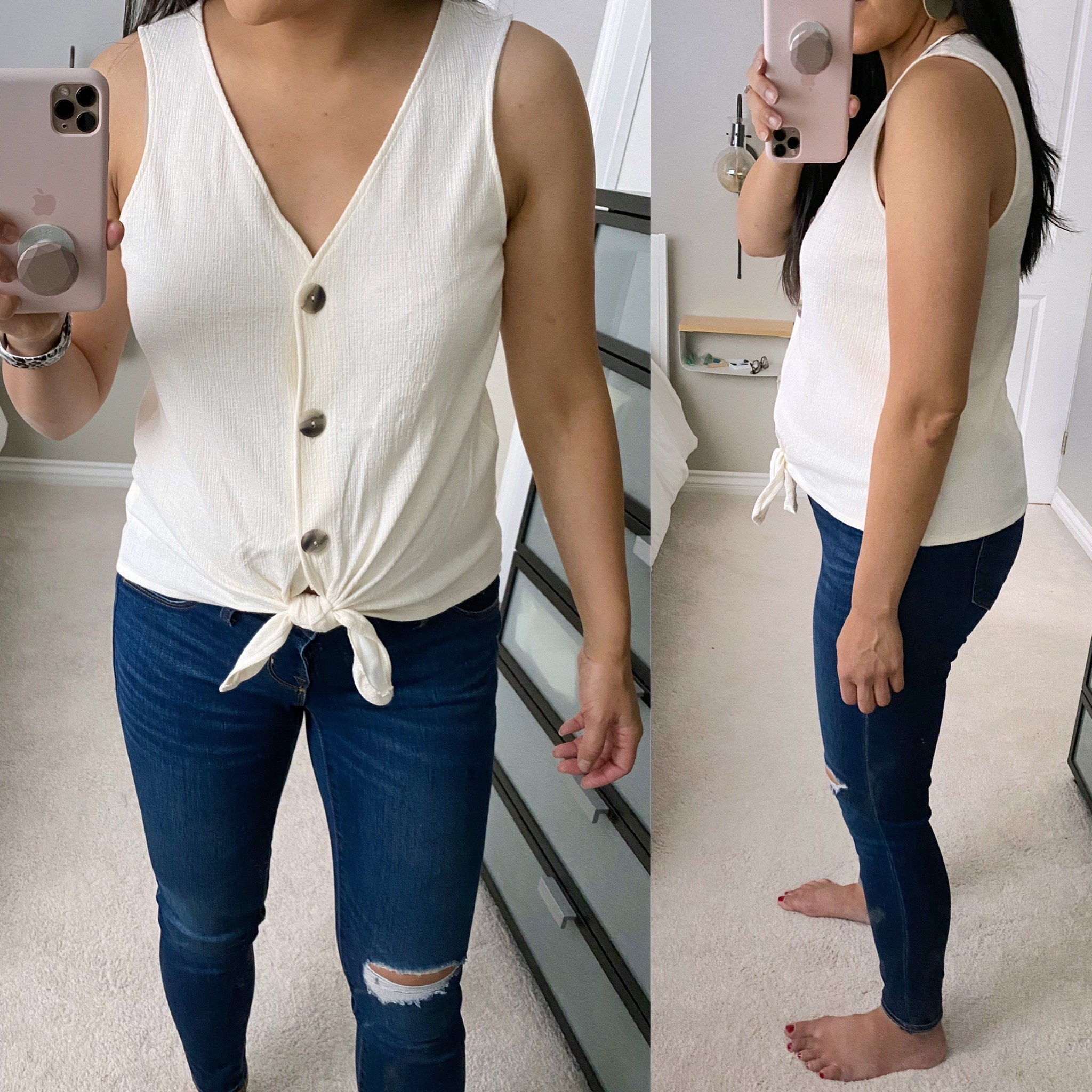 Summer Jeans Outfit front and side view: cream button-up tie-front tank top + distressed skinny jeans + blush leather earrings