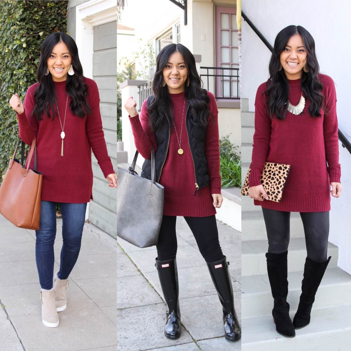 3 Maroon Sweater Outfits