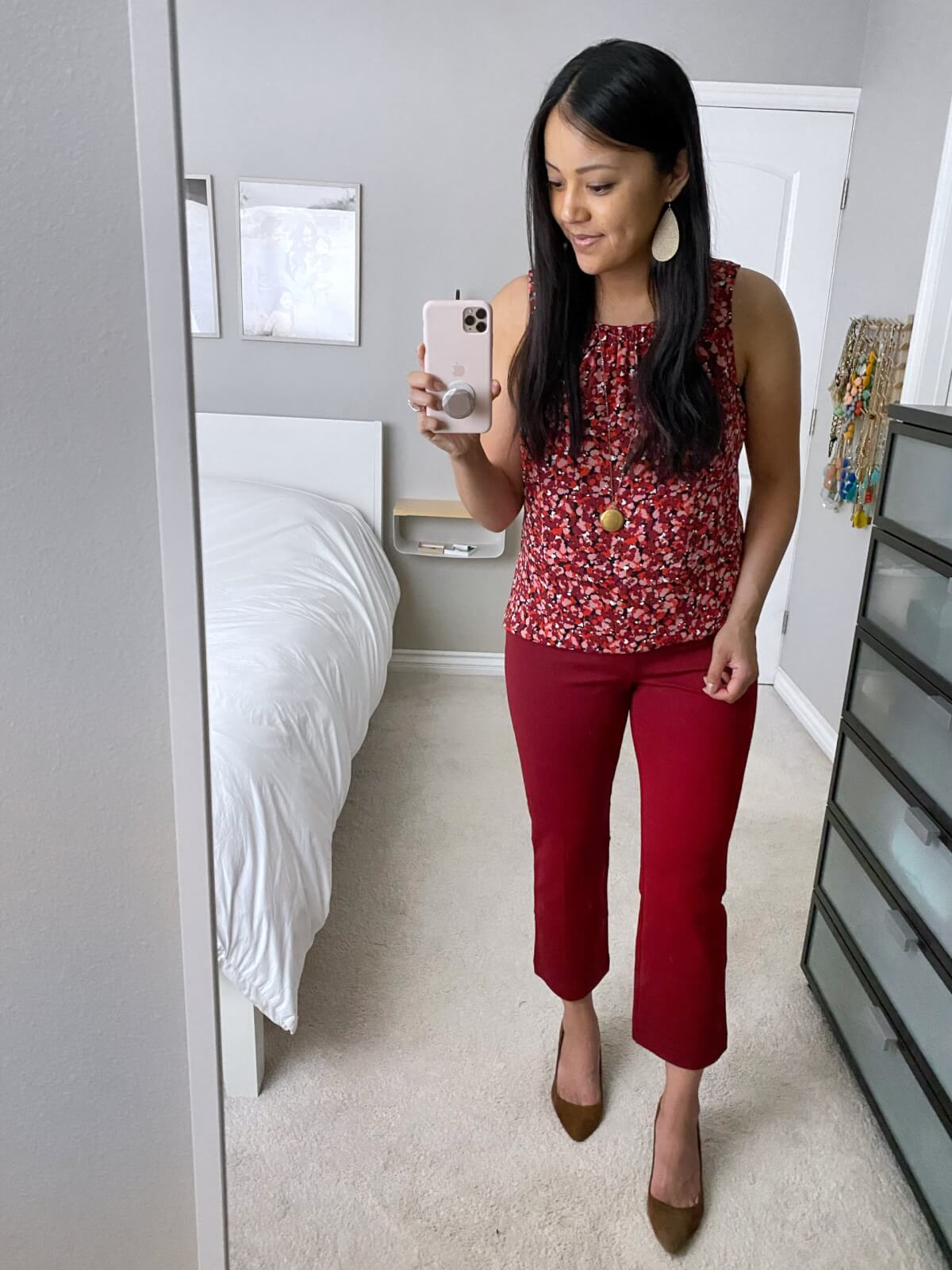 Fall Business Casual Outfit: red printed tank top + red ankle pants + brown suede heels + gold leather earrings